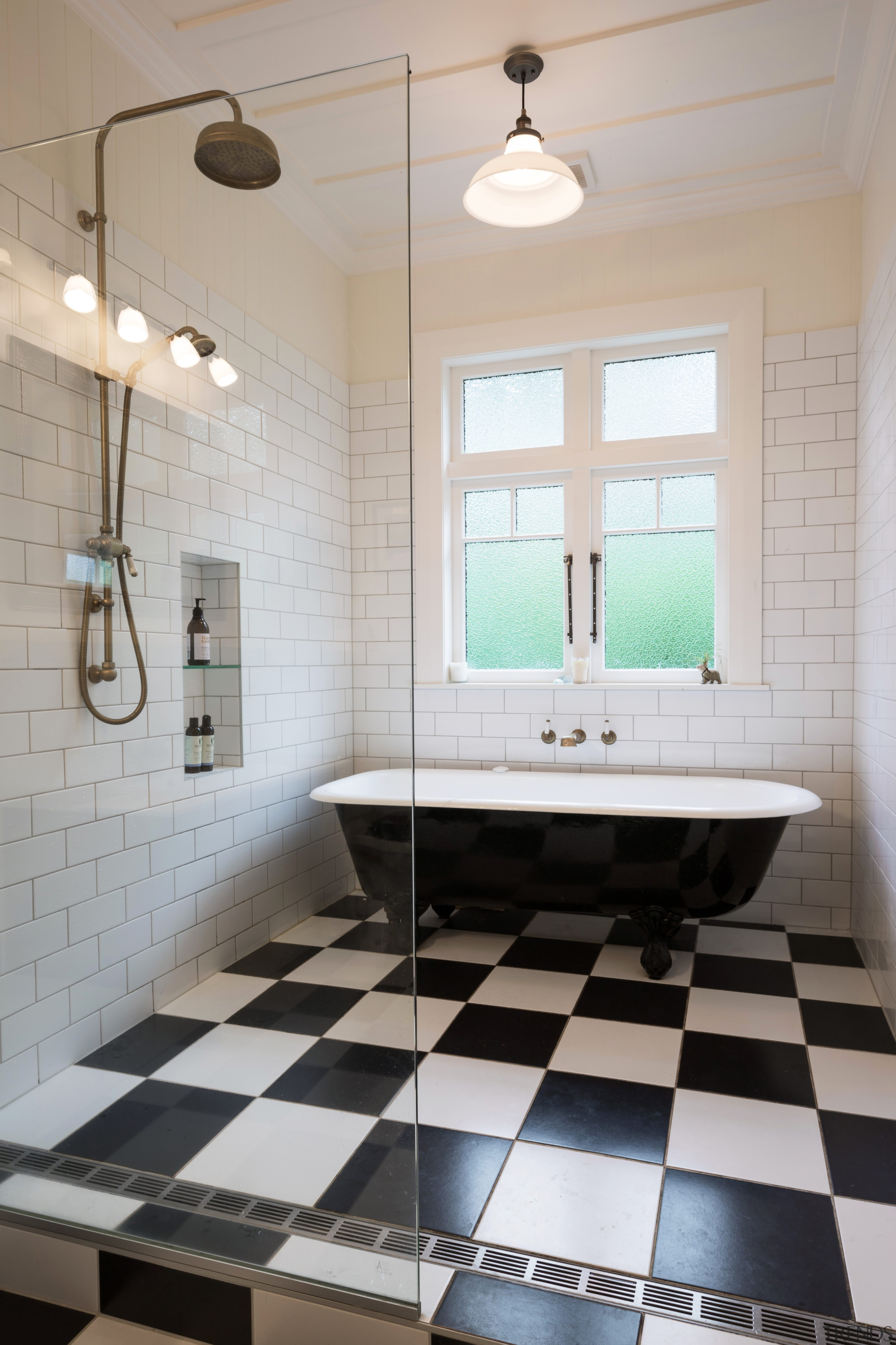The shower had to all but disappear in bathroom, floor, flooring, home, interior design, plumbing fixture, room, sink, tile, wall, gray