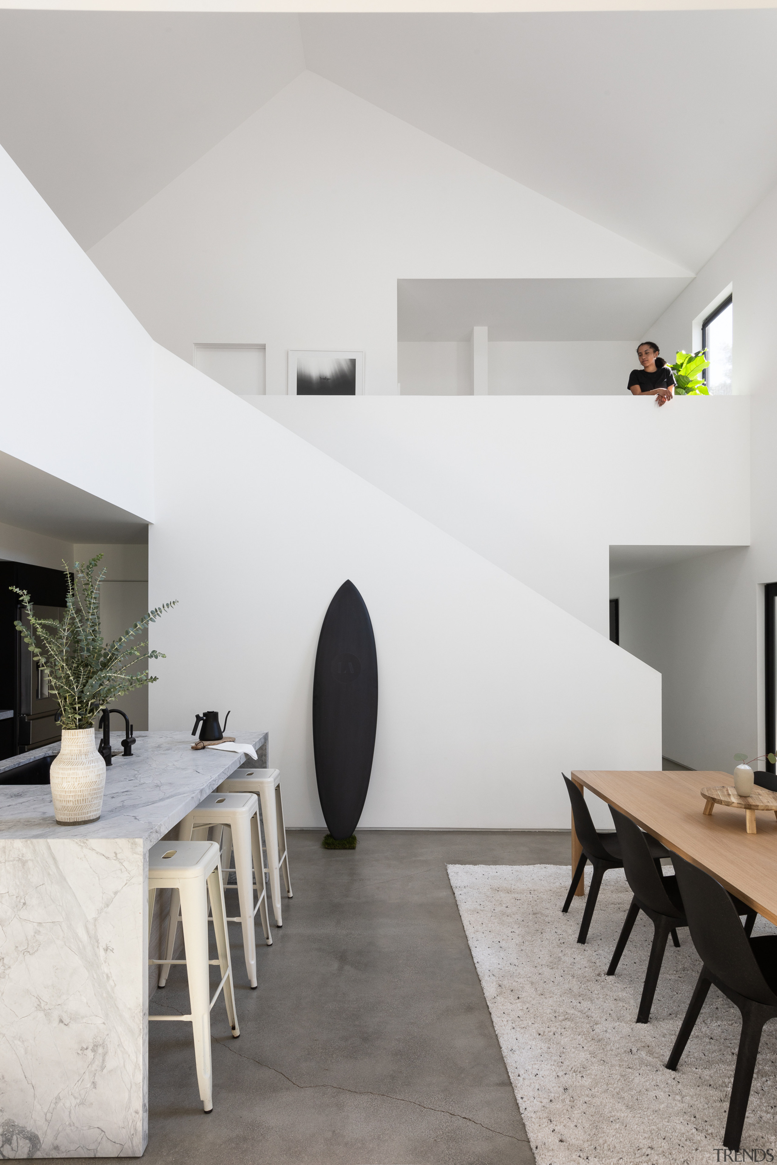 The home is organised around a light-filled double-height