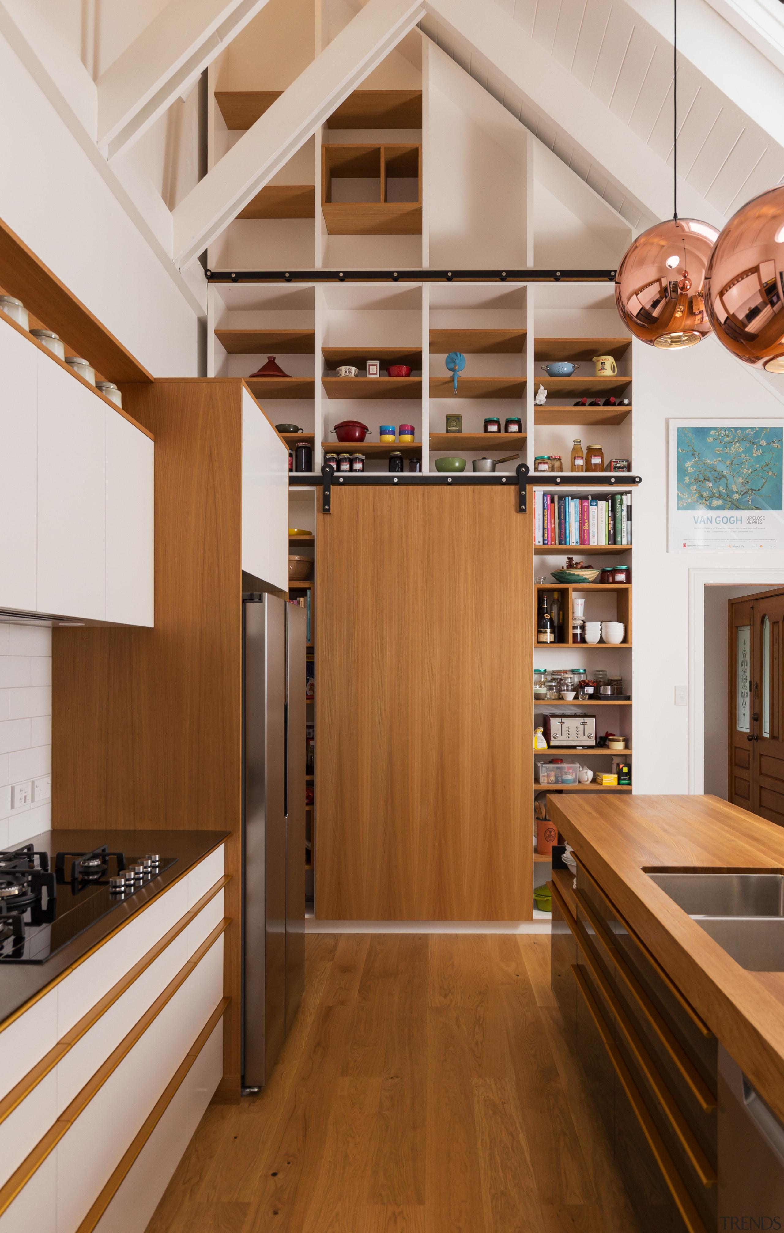 Wooden kitchen cabinetry and living room timber shelves cabinetry, countertop, floor, flooring, hardwood, interior design, kitchen, shelf, shelving, wood, wood flooring, brown, gray, cabinetry, RH Cabinetmakers