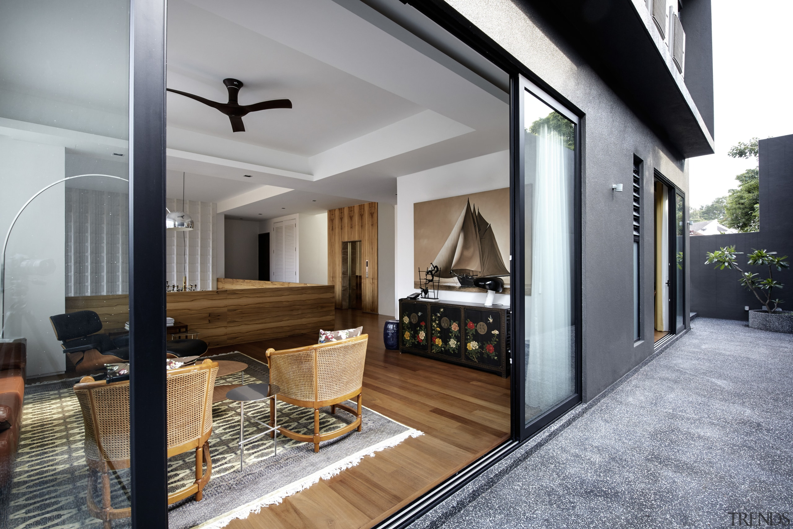 The family room and most bedrooms in this architecture, floor, flooring, house, interior design, living room, real estate, gray