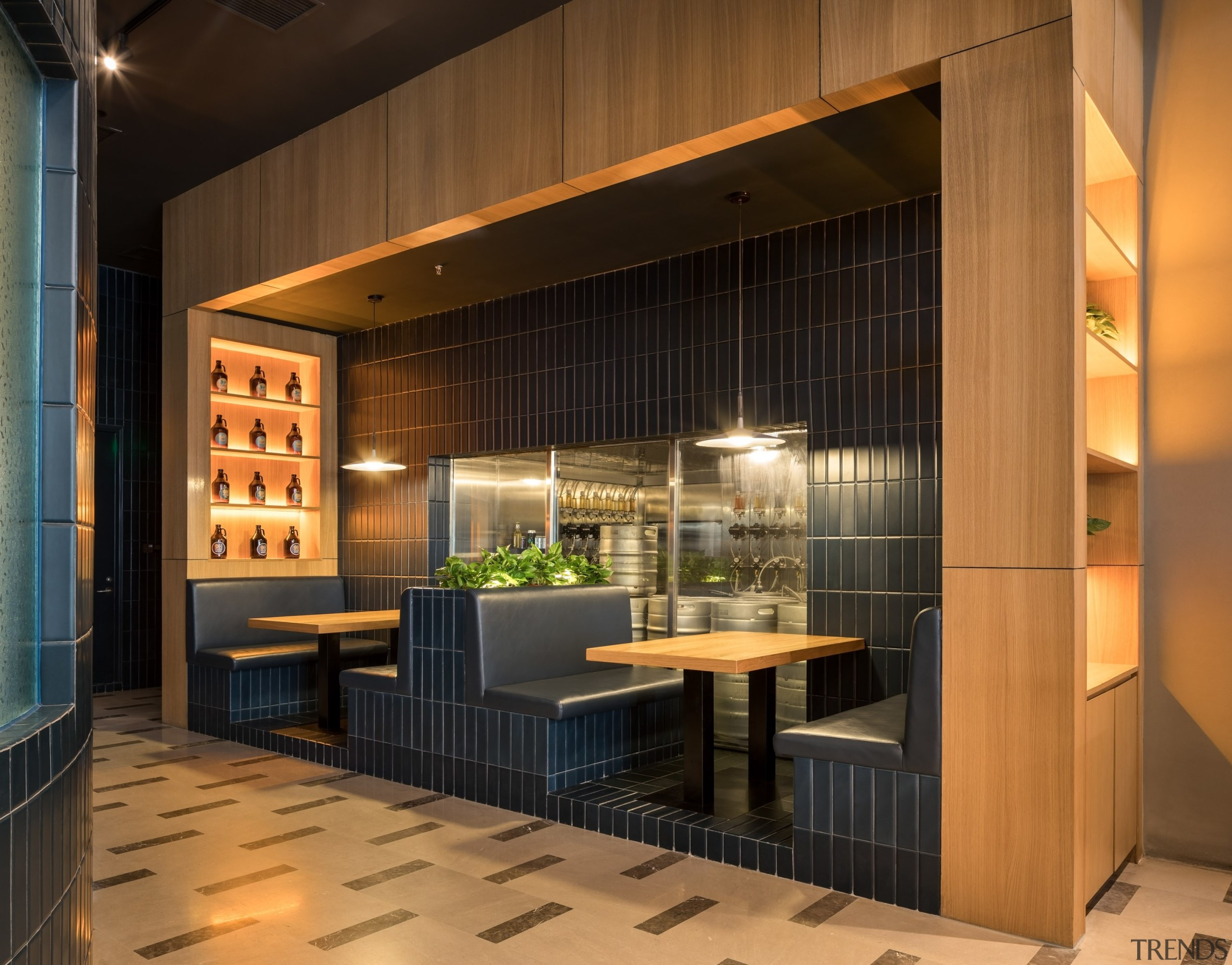 Intimate booths are part of the Oh Yeah architecture, building, cabinetry, ceiling, design, door, facade, floor, flooring, furniture, home, house, interior design, lighting, lobby, property, real estate, room, tile, wall, black, brown, orange