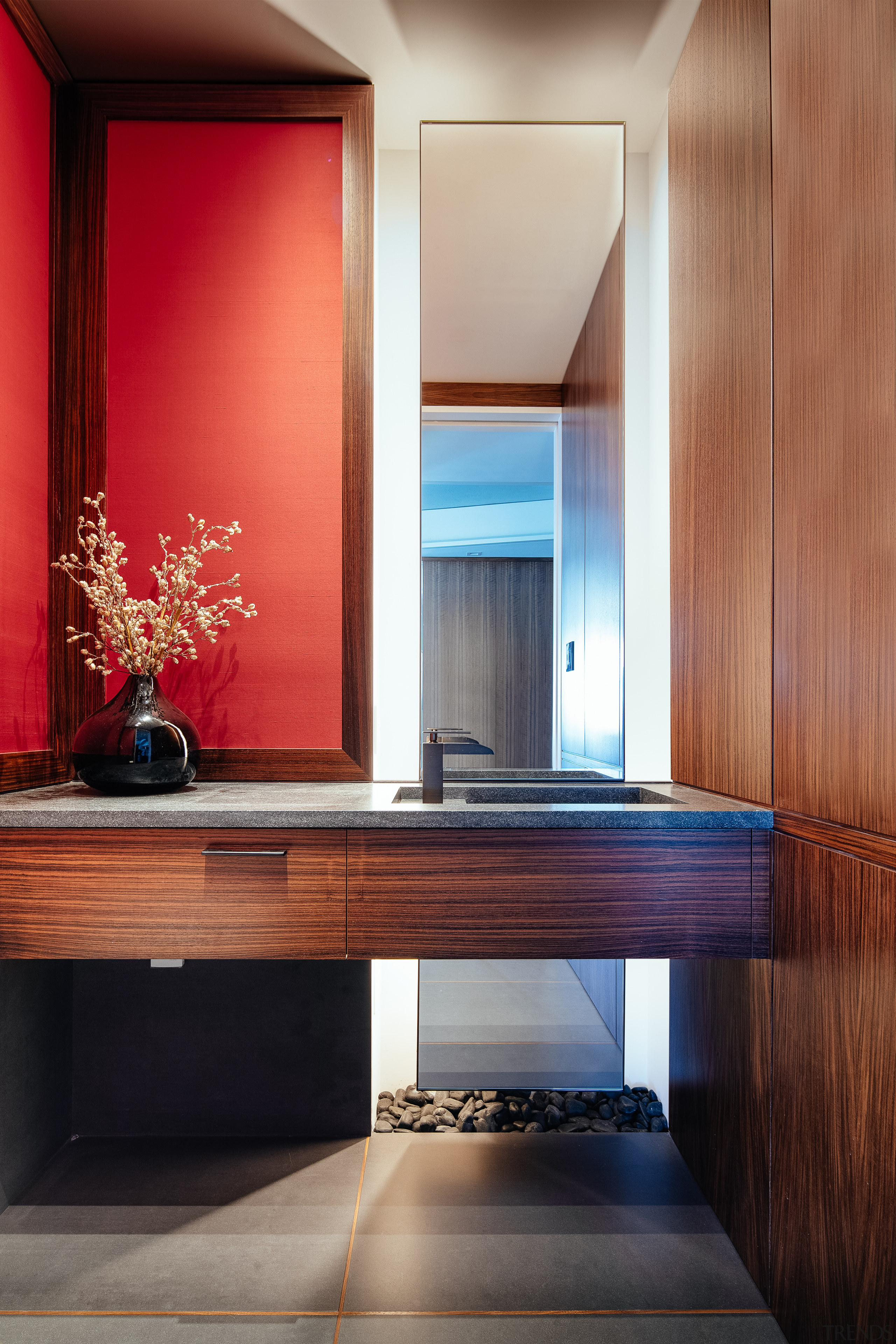 ​​​​​​​Prior to renovation, the existing powder room in architecture, home, penthouse, interior design, powder room, Andrew Wilkinson