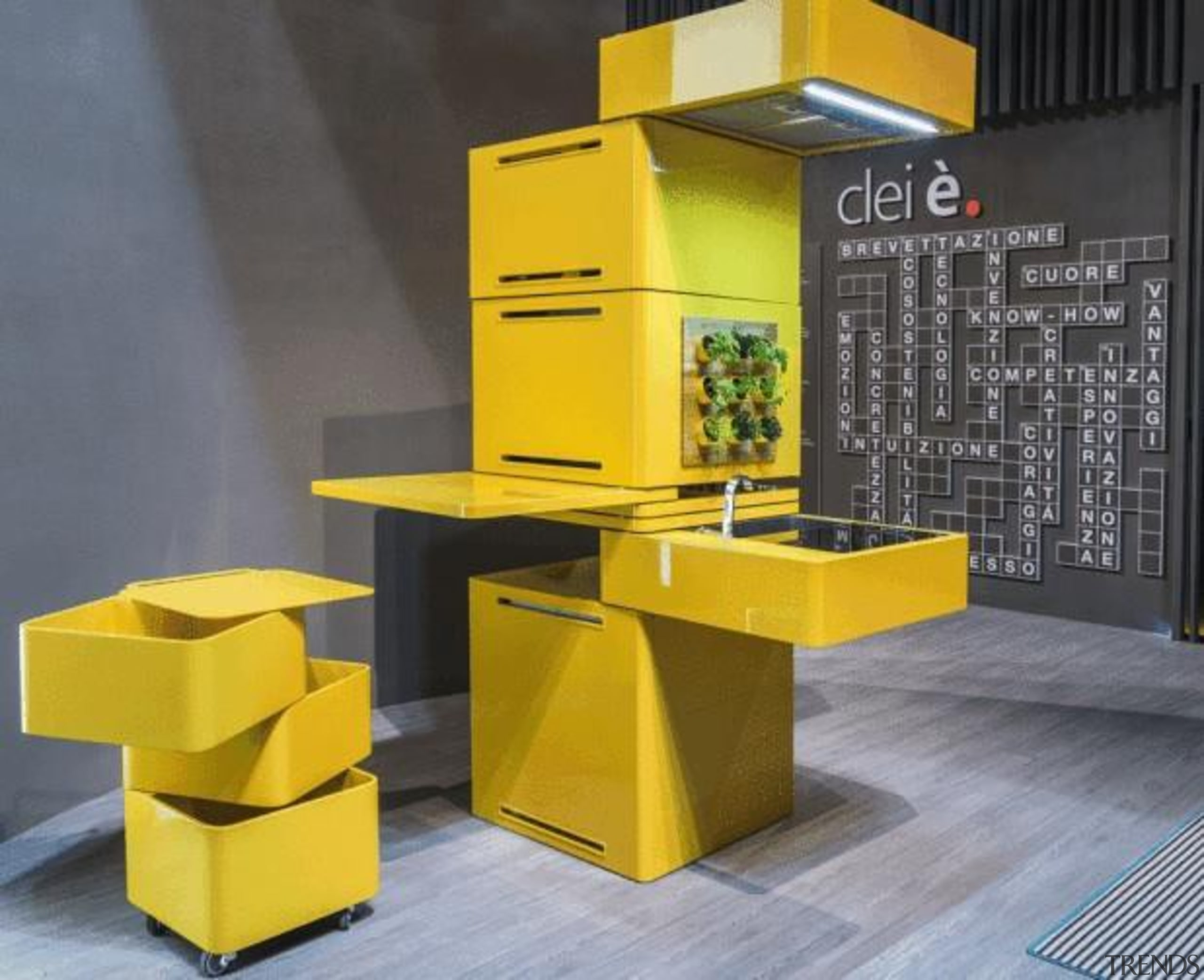 Forget 'bigger is better'; in the eco-conscious yet furniture, product, product design, shelf, shelving, table, yellow, gray