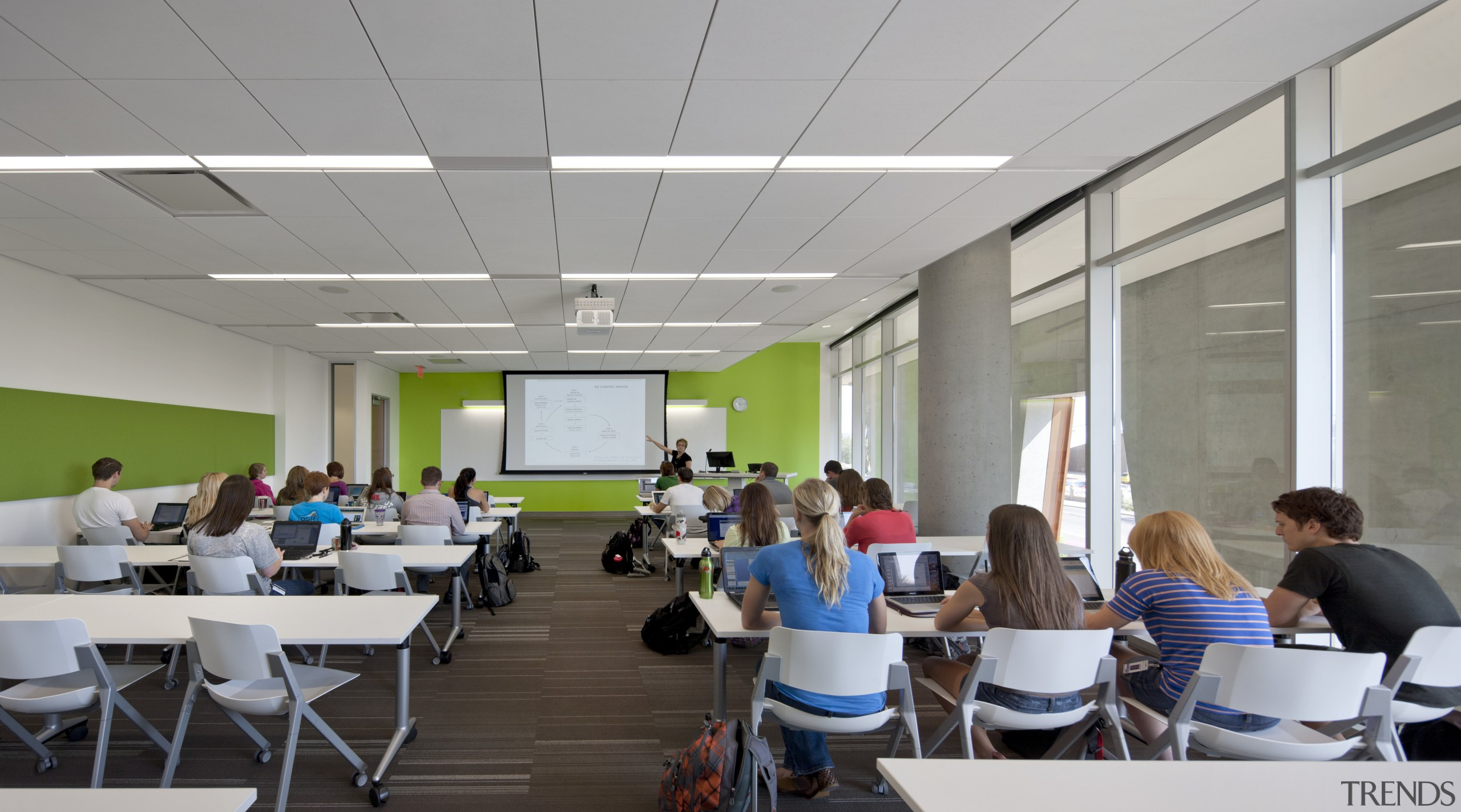 On the Health Sciences Education Building project, the classroom, institution, seminar, gray