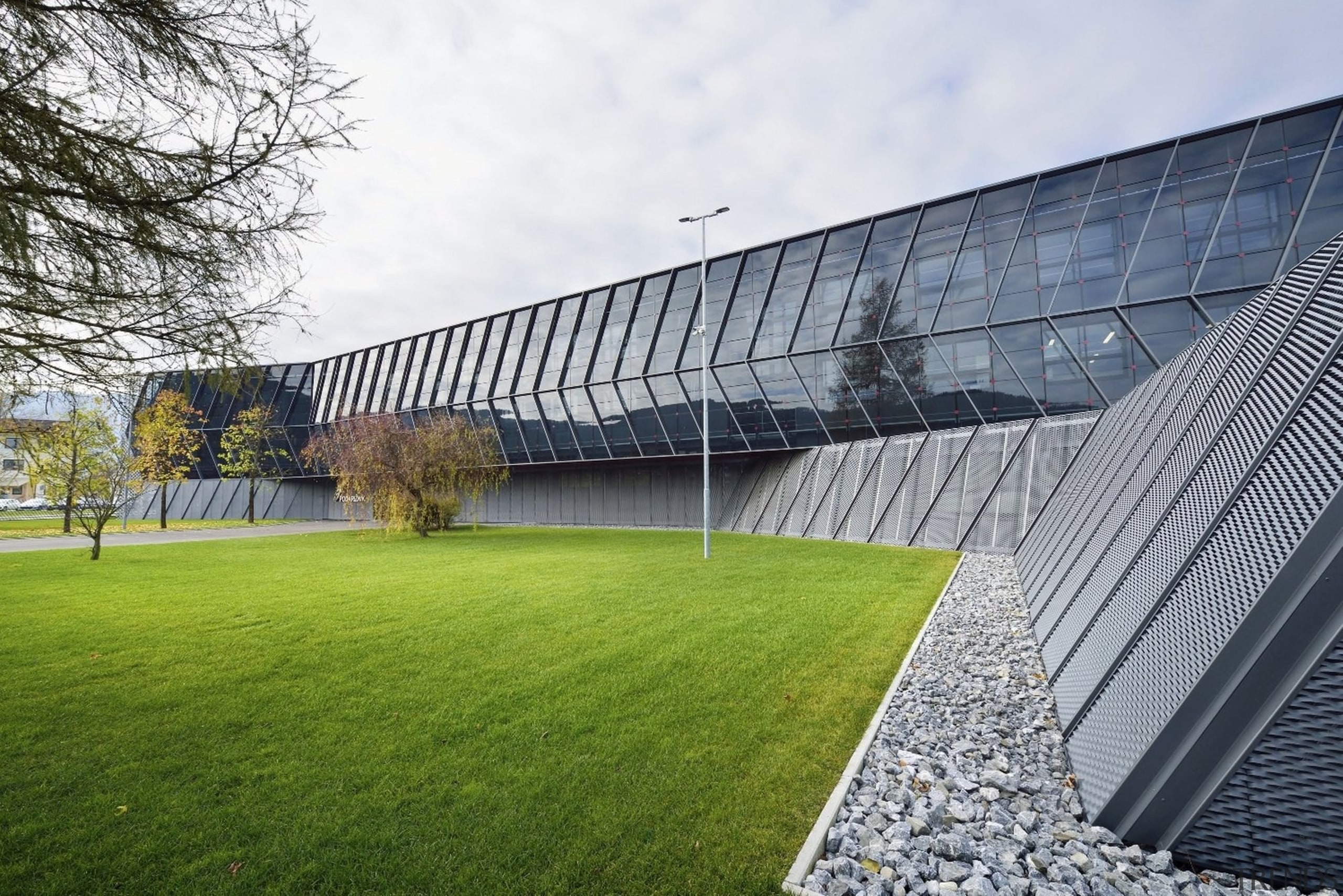 Architect: SuperformPhotography by Miran Kambič architecture, building, campus, corporate headquarters, facade, grass, headquarters, house, lawn, plant, real estate, roof, sport venue, stadium, structure, white