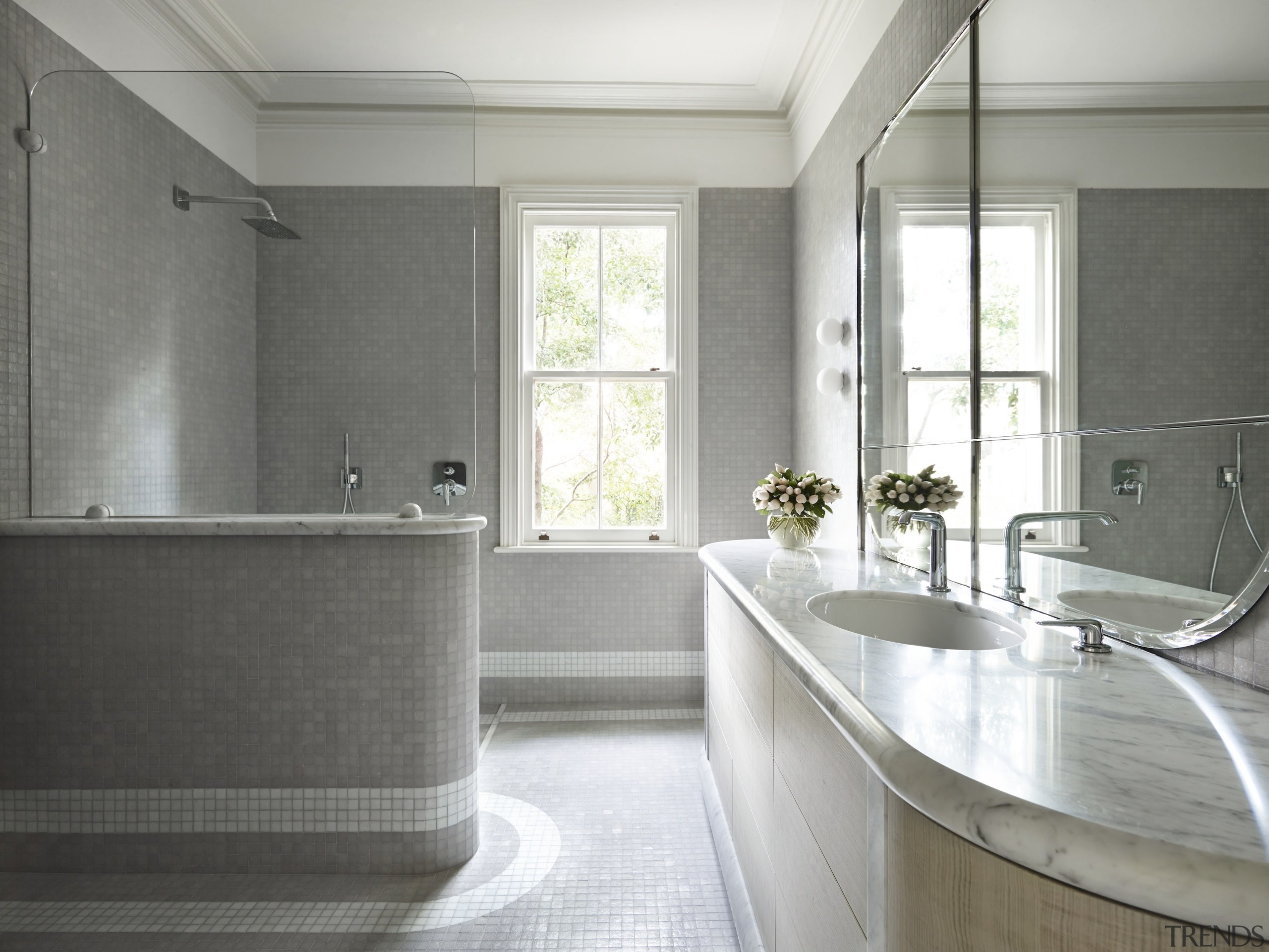 Winner Architect Designed Bathroom – Sjb Interiors bathroom, countertop, floor, home, interior design, real estate, room, sink, window, gray, white