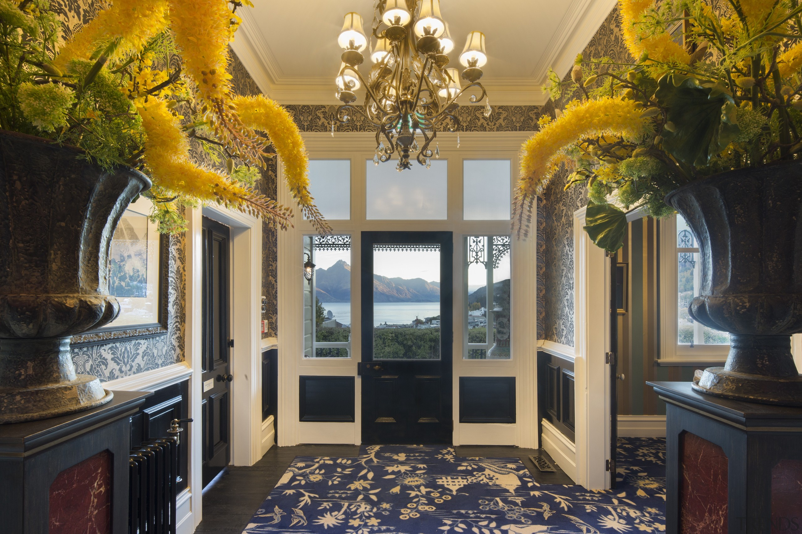 Hulbert House, Queenstown, New Zealand - architecture | architecture, building, ceiling, estate, floor, furniture, home, house, interior design, molding, property, real estate, room, tree, yellow, black, brown