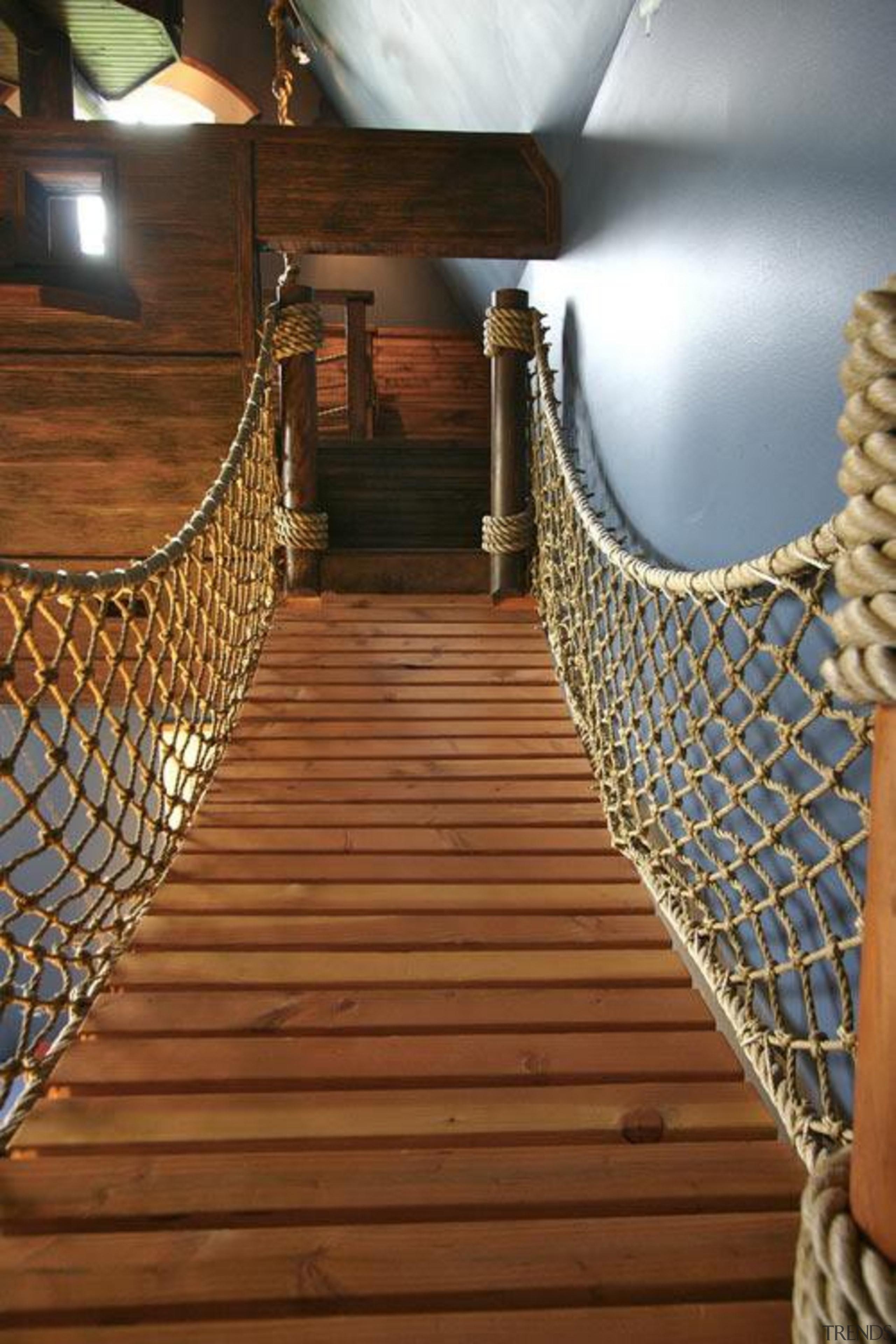 Created by Steve Kuhl of Kuhl Design Build, floor, flooring, handrail, hardwood, stairs, wood, brown