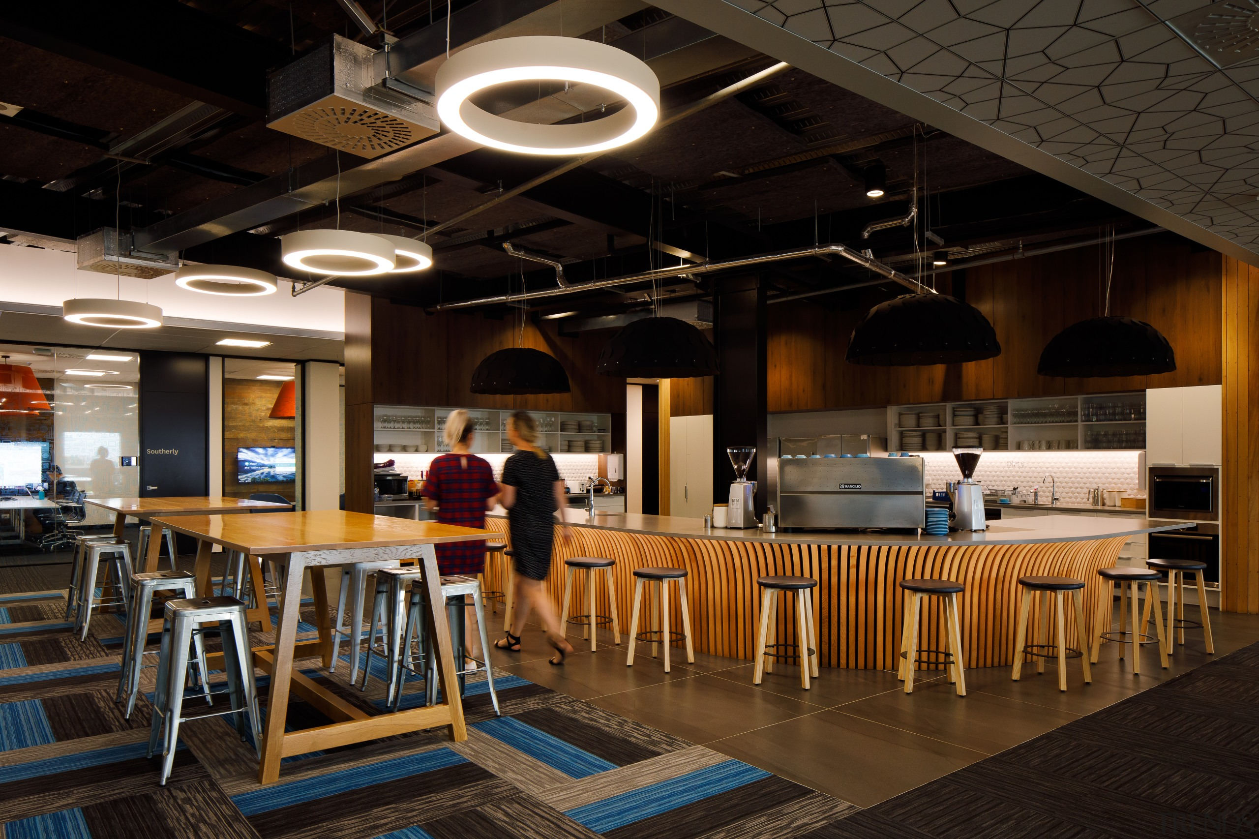 In the Xero head office fit-out, only ceilings architecture, building, café, cafeteria, ceiling, coffeehouse, furniture, interior design, lighting, restaurant, room, table, black, brown