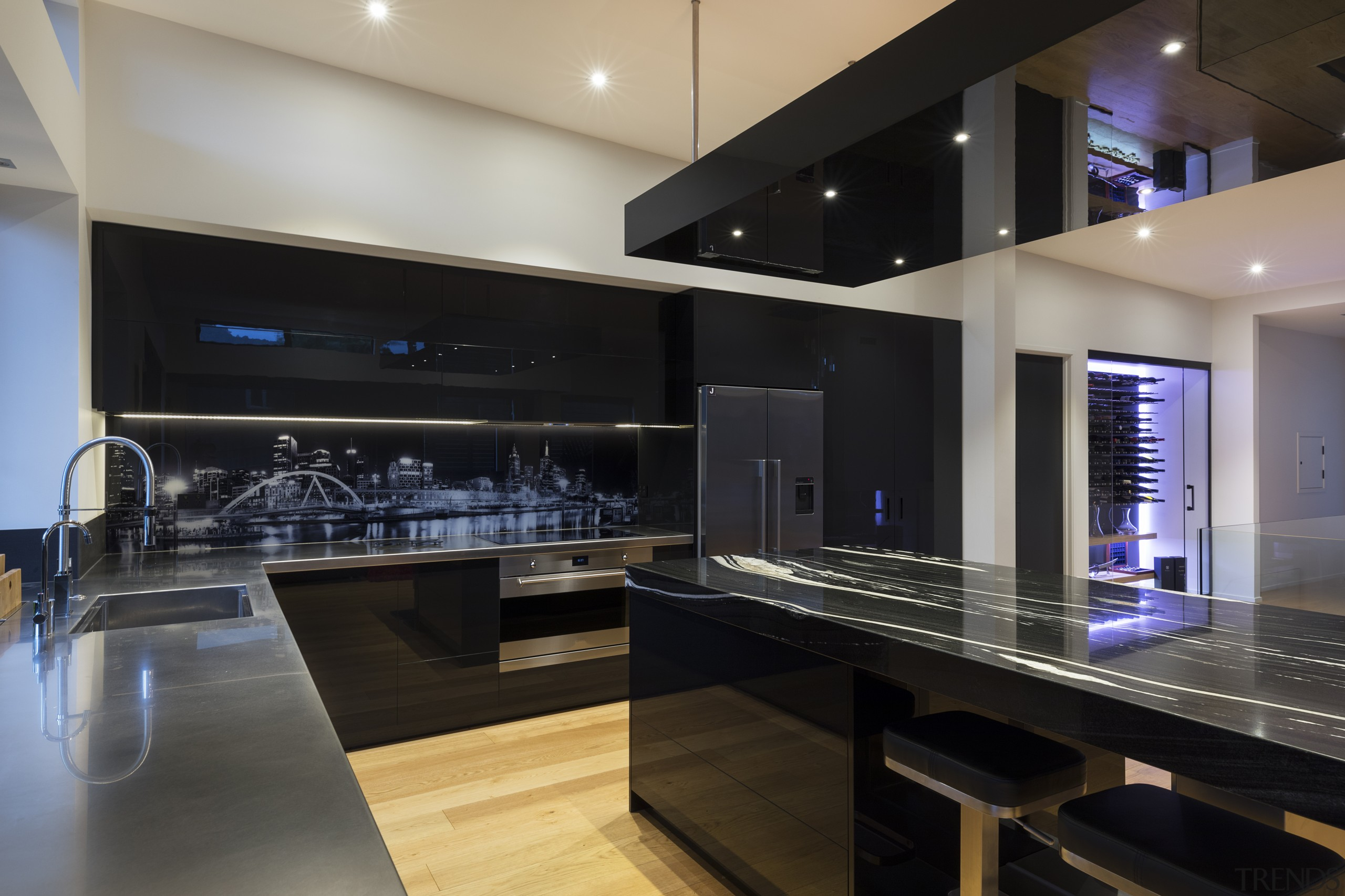 All drawers and lift systems utilise Blum Servo cabinetry, ceiling, countertop, flooring, interior design, kitchen, real estate, under cabinet lighting, black, gray