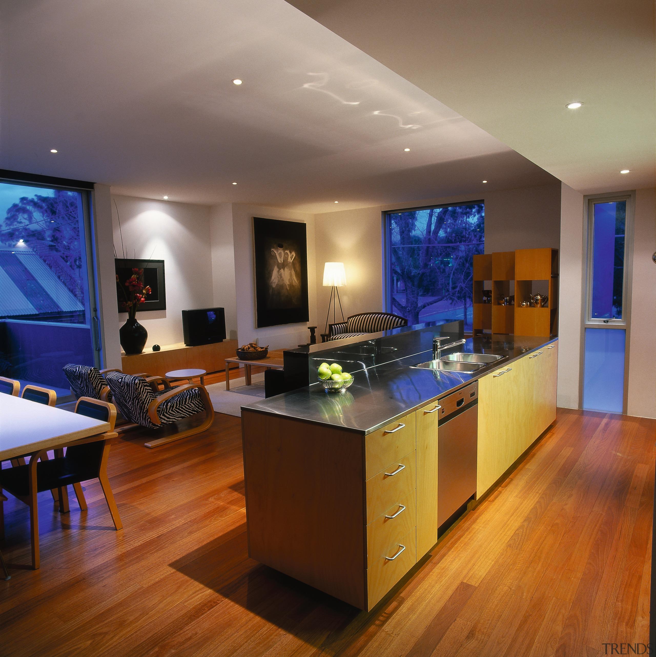 View of this modern kitchen - View of ceiling, countertop, floor, flooring, hardwood, interior design, kitchen, real estate, room, wood flooring, brown