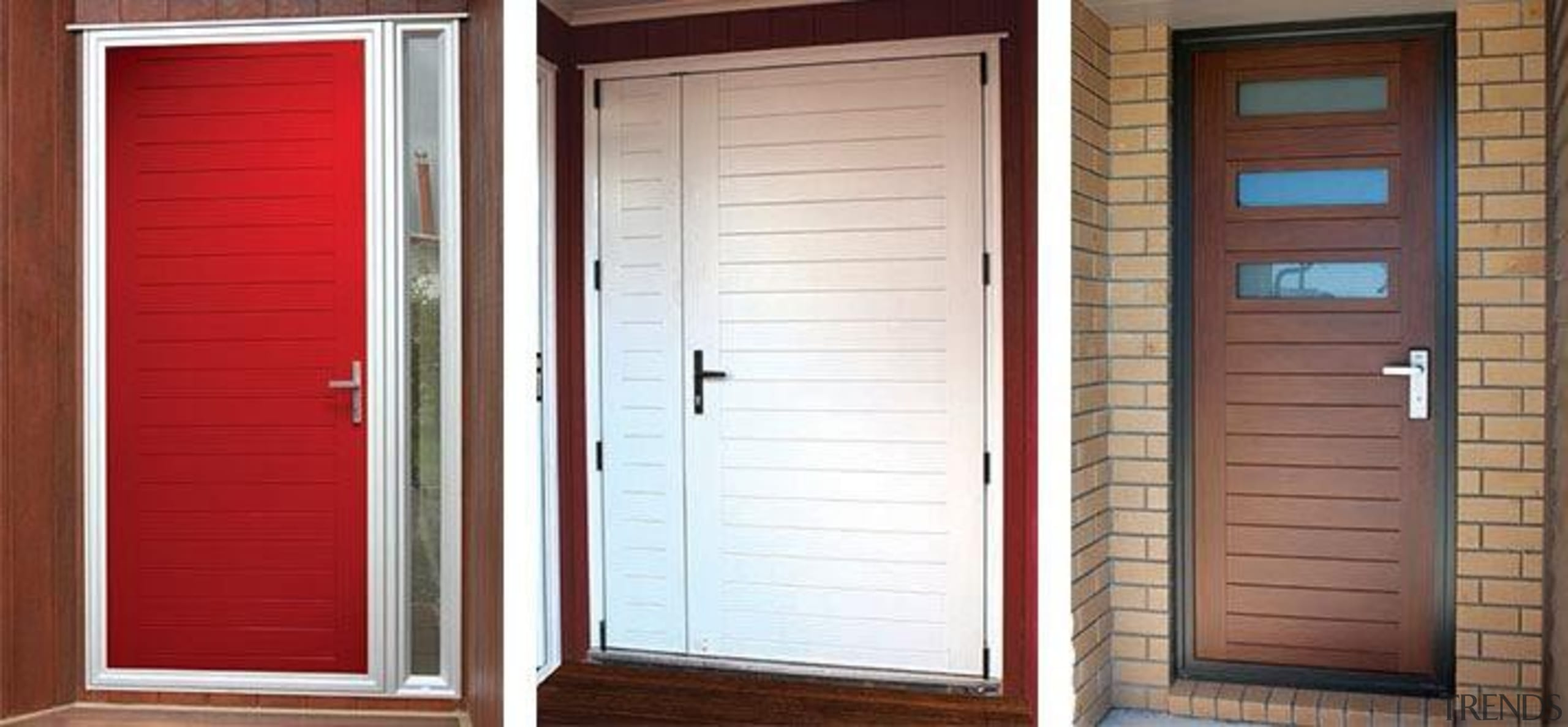 FIRST® Aquila entrance doors offer an innovative door door, window, window blind, window covering, window treatment, wood, wood stain, white, red