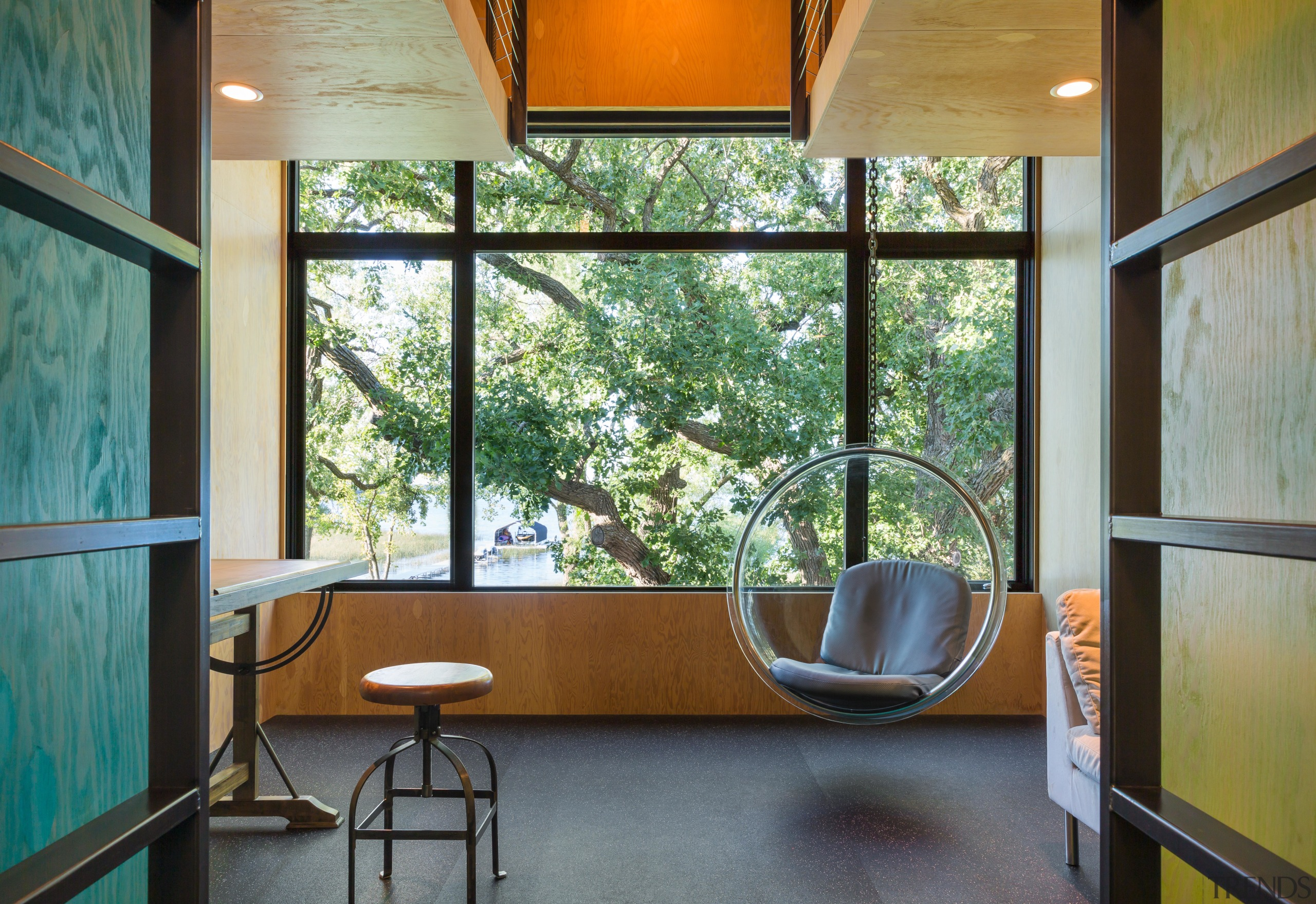 Materials in this children's room – plywood lined architecture, daylighting, home, house, interior design, real estate, table, window, wood