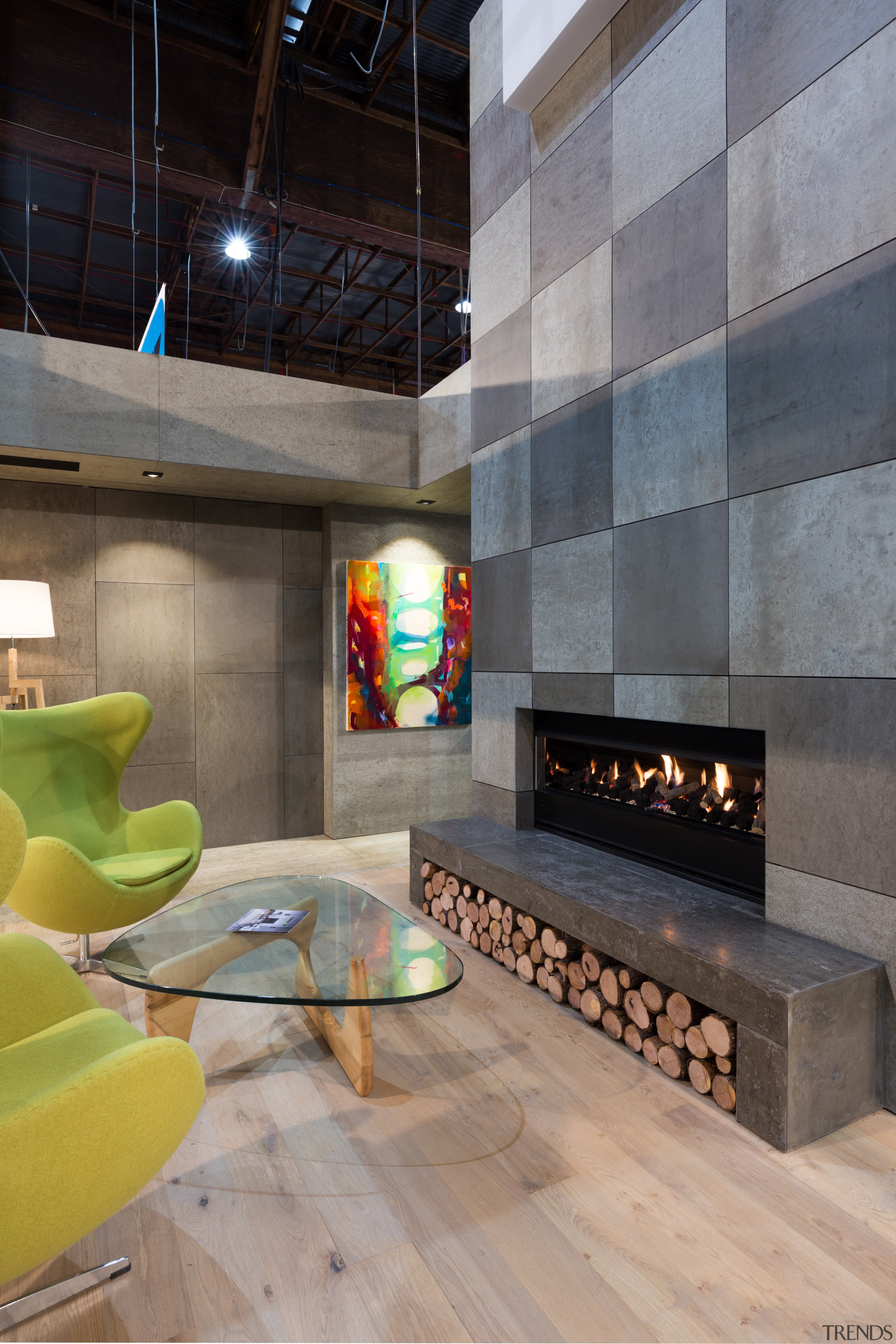IMG_6175 - architecture | fireplace | floor | architecture, fireplace, floor, flooring, hearth, interior design, living room, lobby, loft, wall, gray