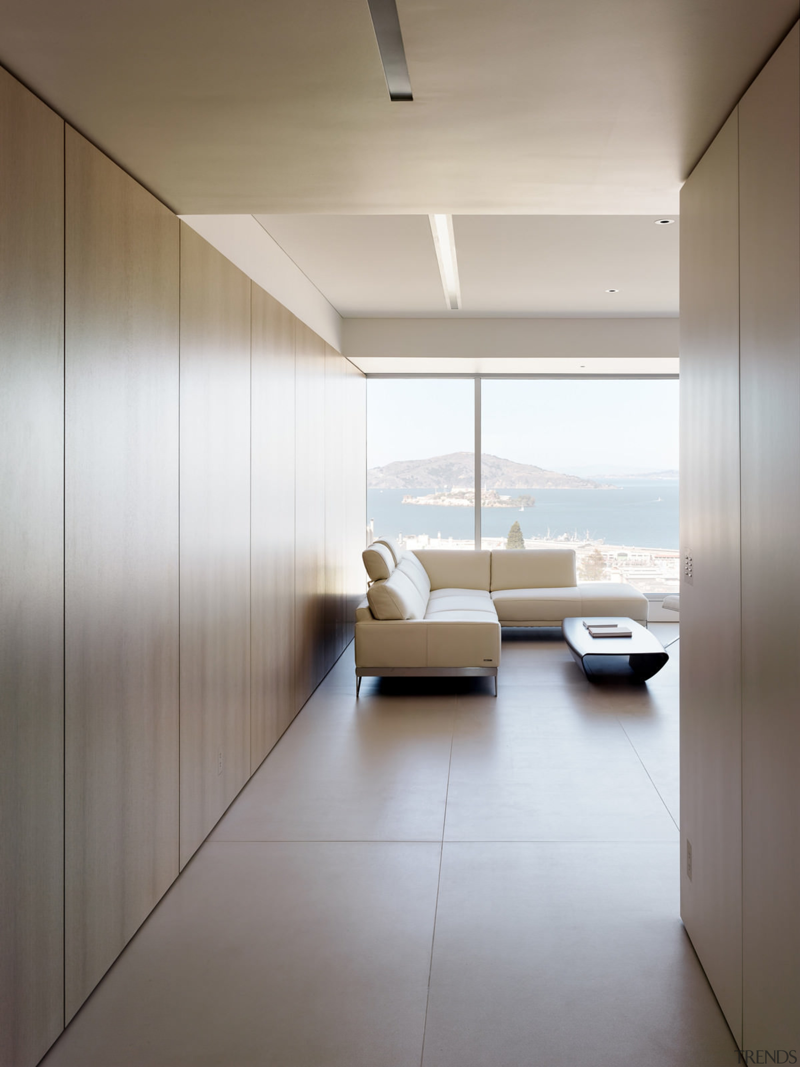 Looking out to the bay during the day architecture, ceiling, daylighting, floor, house, interior design, product design, wall, gray