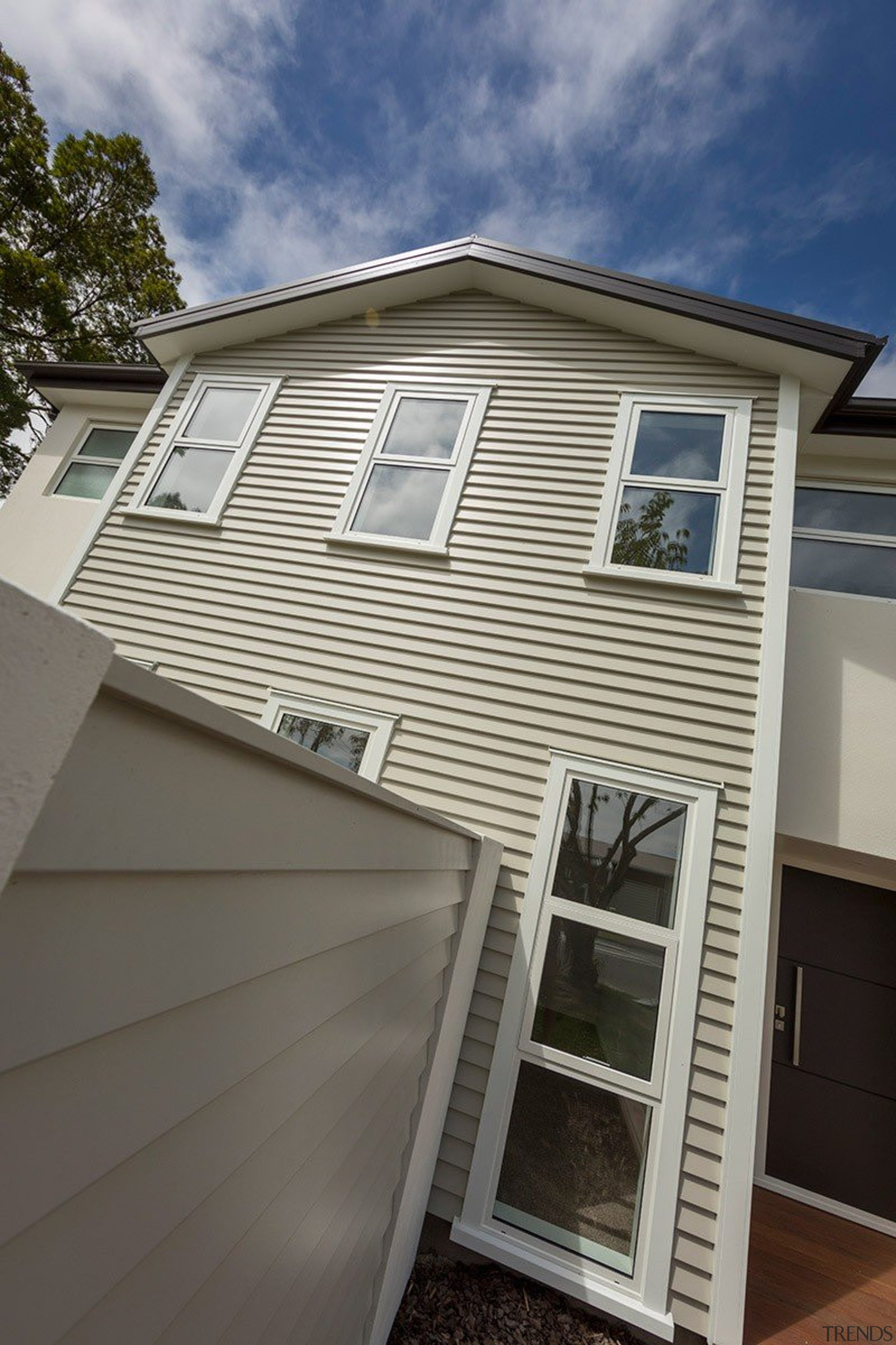 Three styles of weatherboards are offered in the building, daylighting, elevation, facade, home, house, property, real estate, residential area, roof, siding, window, gray