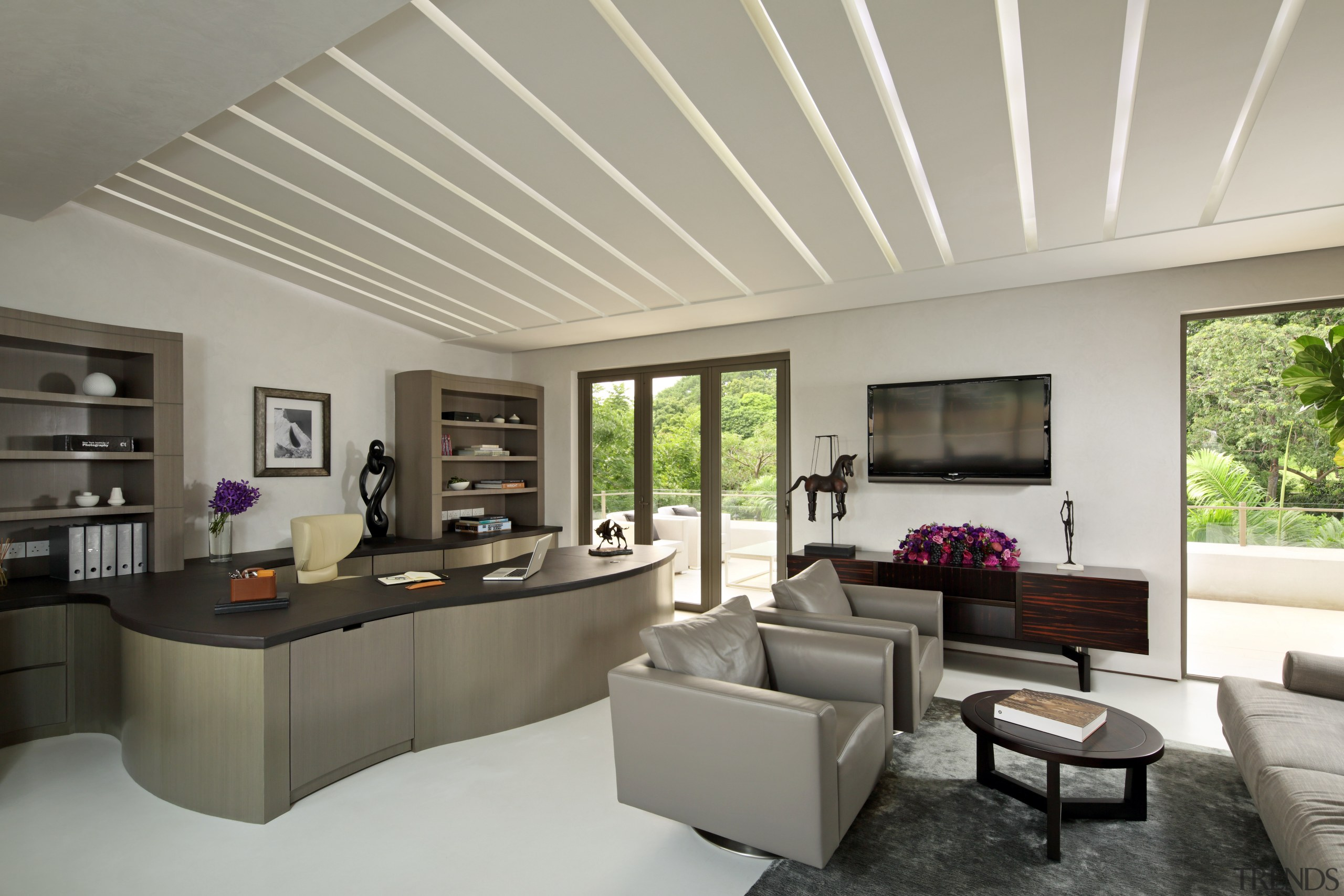 The feature ceiling grooves in this study conceal architecture, ceiling, daylighting, estate, home, house, interior design, living room, property, real estate, window, gray