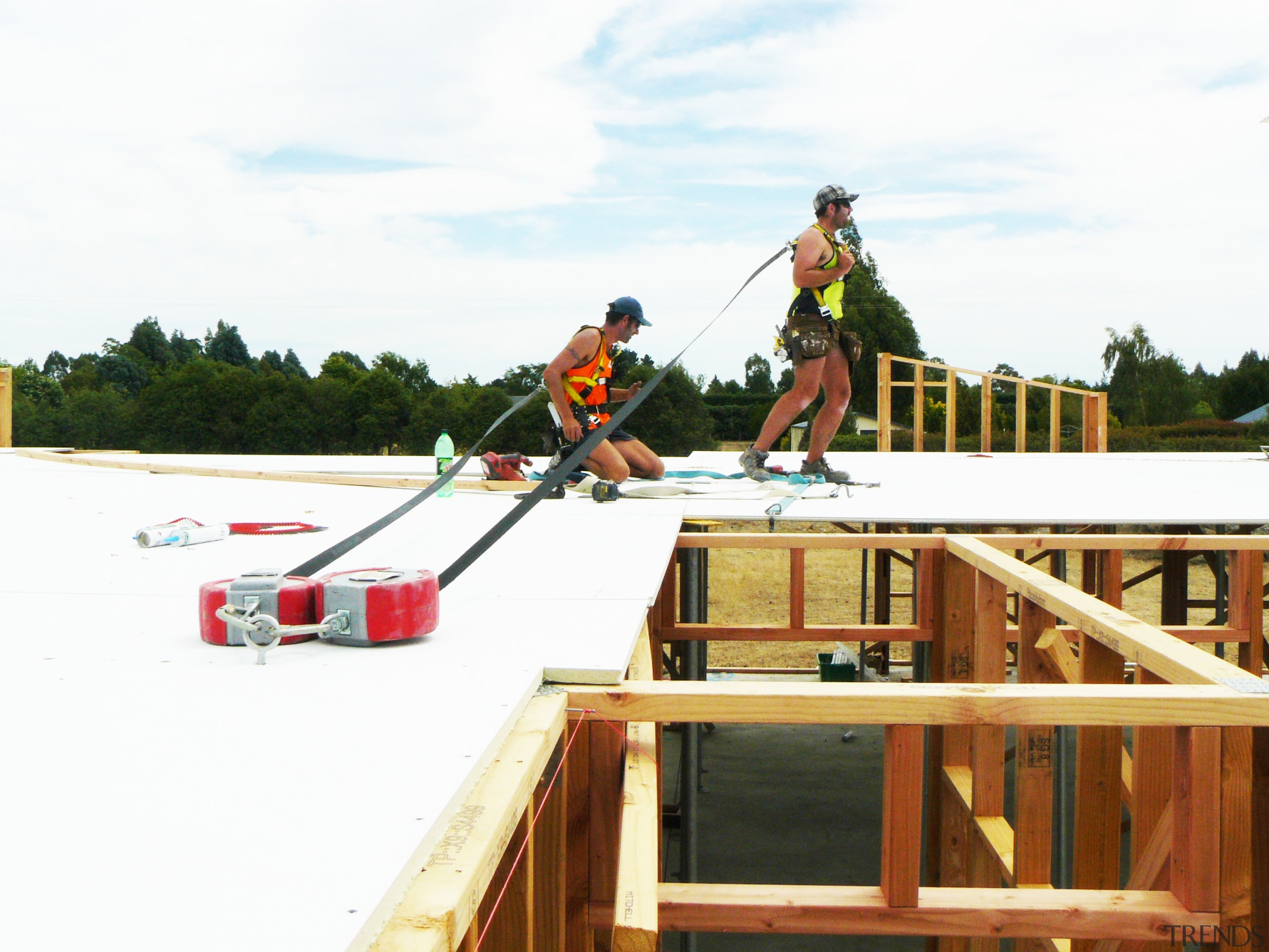 Prefabricated construction  during a build, the ICS outdoor structure, recreation, roof, white