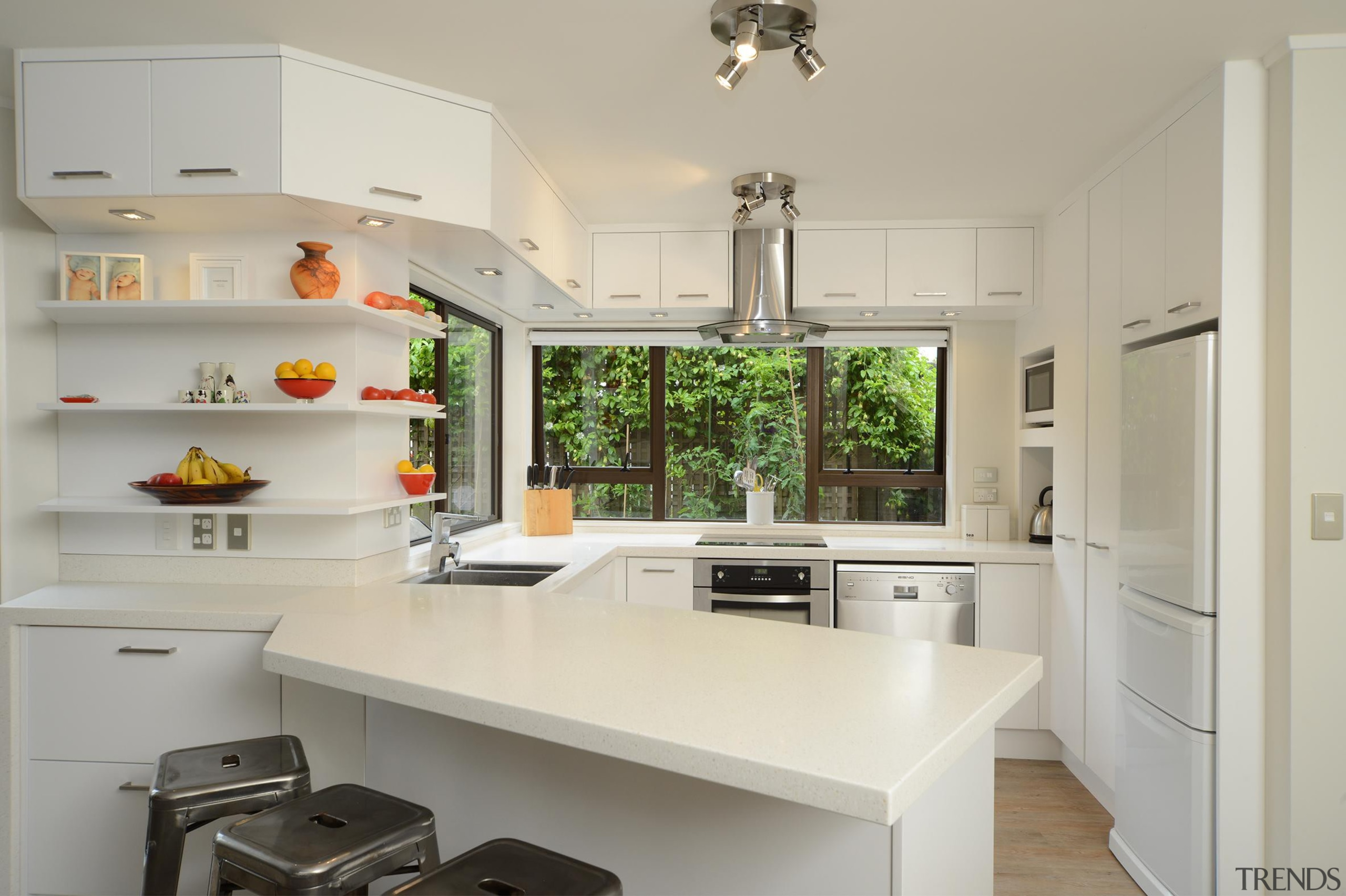 When it comes to shaping forms to follow cabinetry, countertop, cuisine classique, home, interior design, kitchen, room, gray
