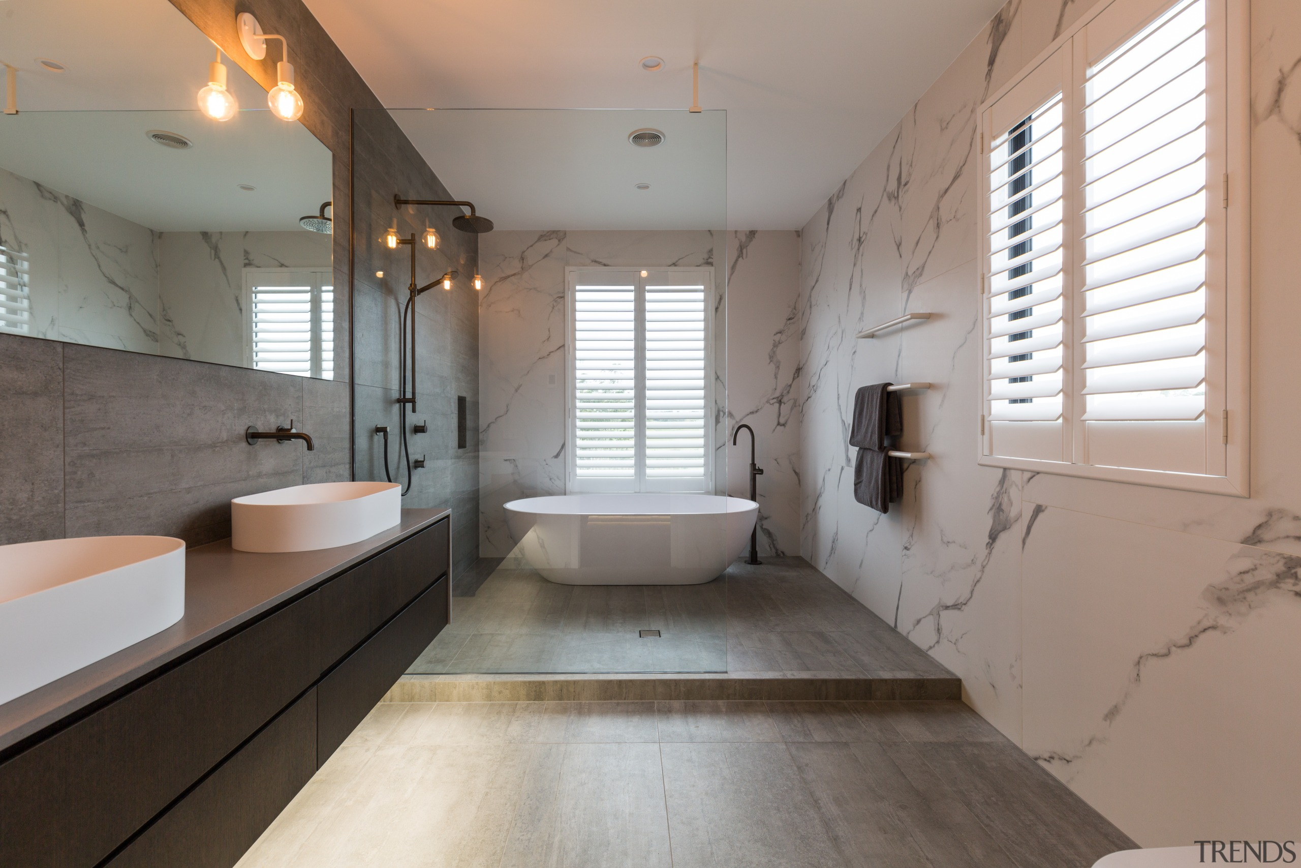 The bathroom has an open, walk-in wet area architecture, bathroom, floor, interior design, room, gray