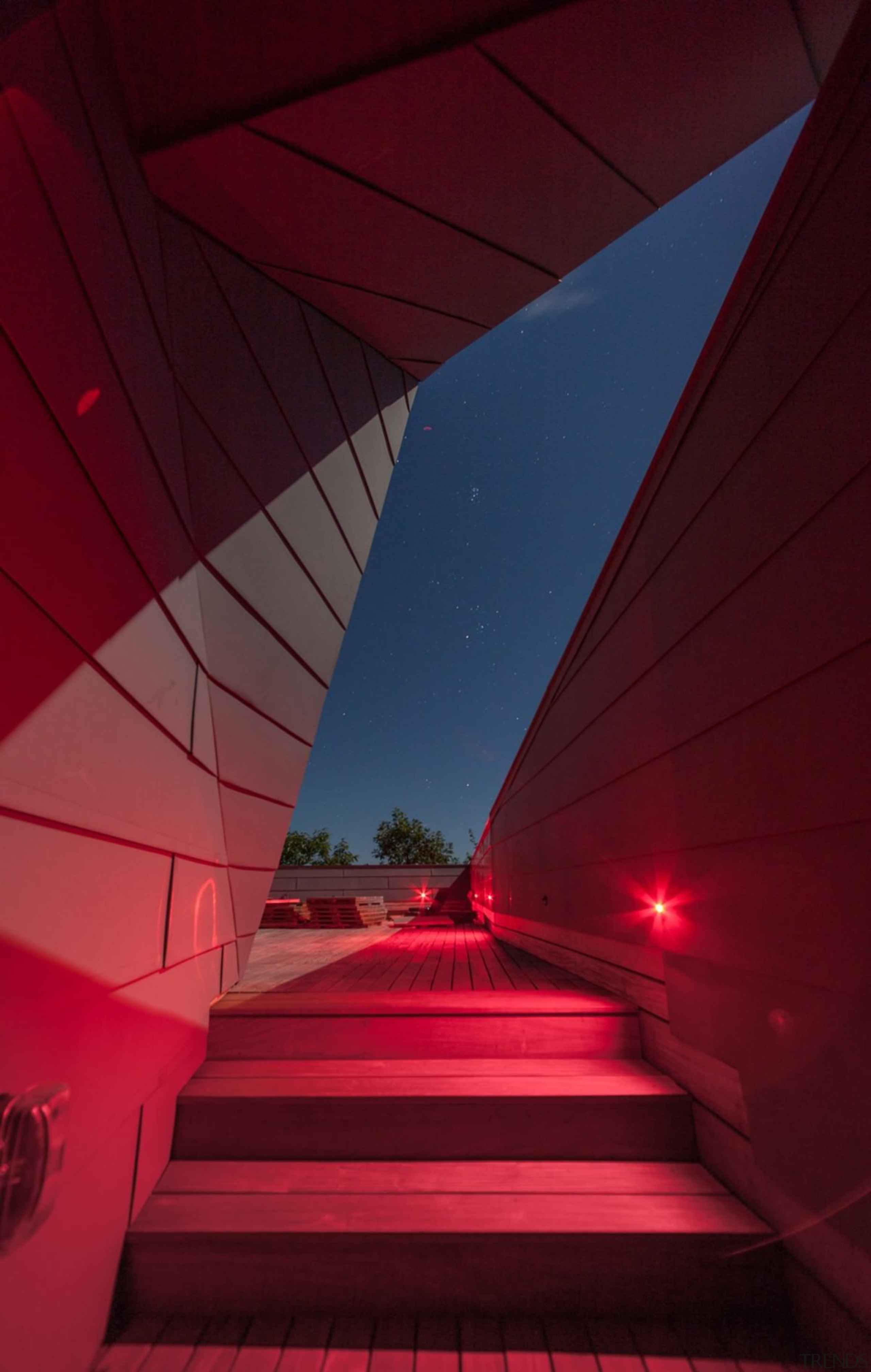 These red lights are important – they don't architecture, ceiling, daylighting, light, lighting, line, red, sky, structure, red