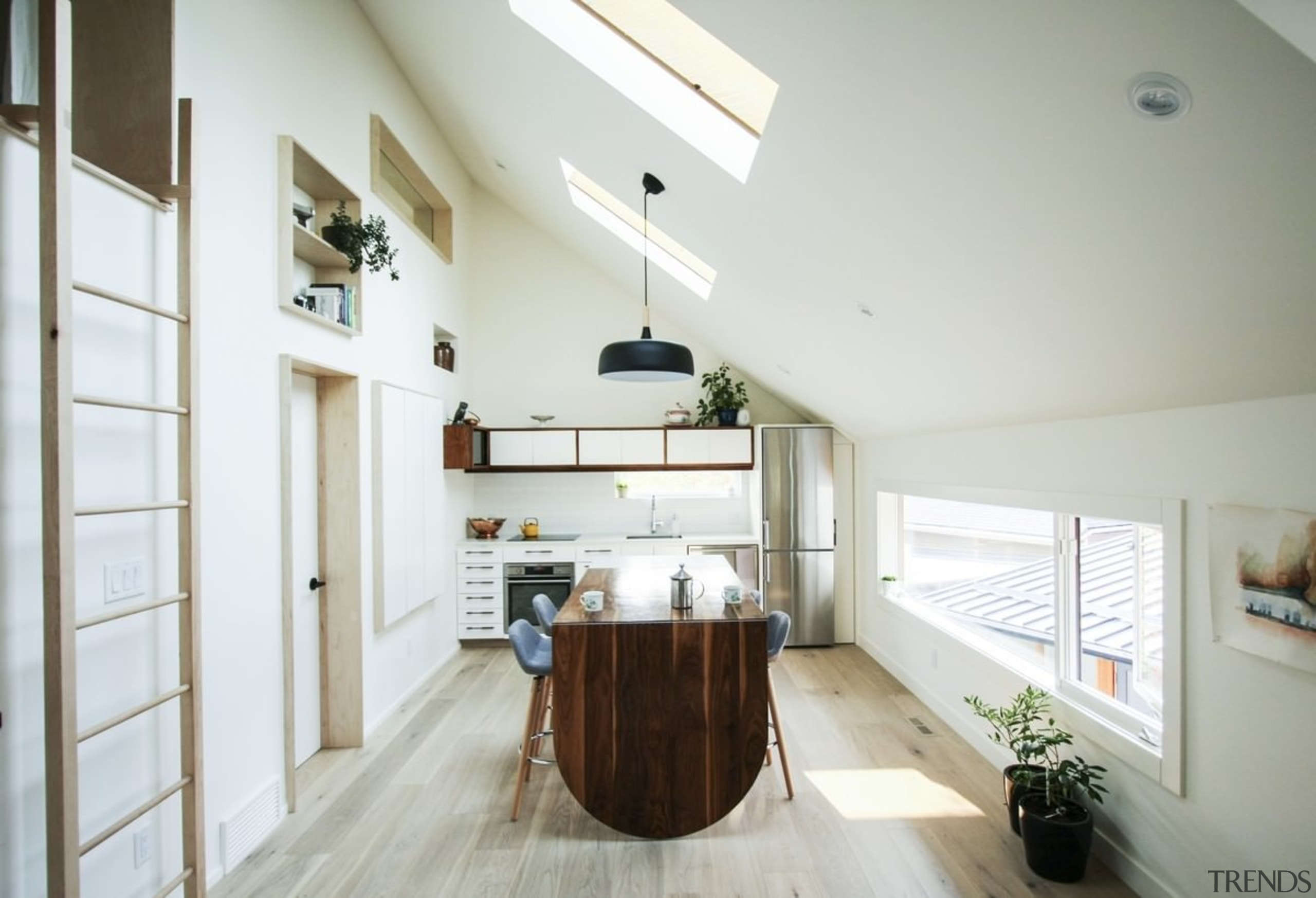 Skylights spaced along the ceiling illuminate the kitchen/dining ceiling, countertop, cuisine classique, daylighting, floor, home, house, interior design, kitchen, property, real estate, room, gray, white