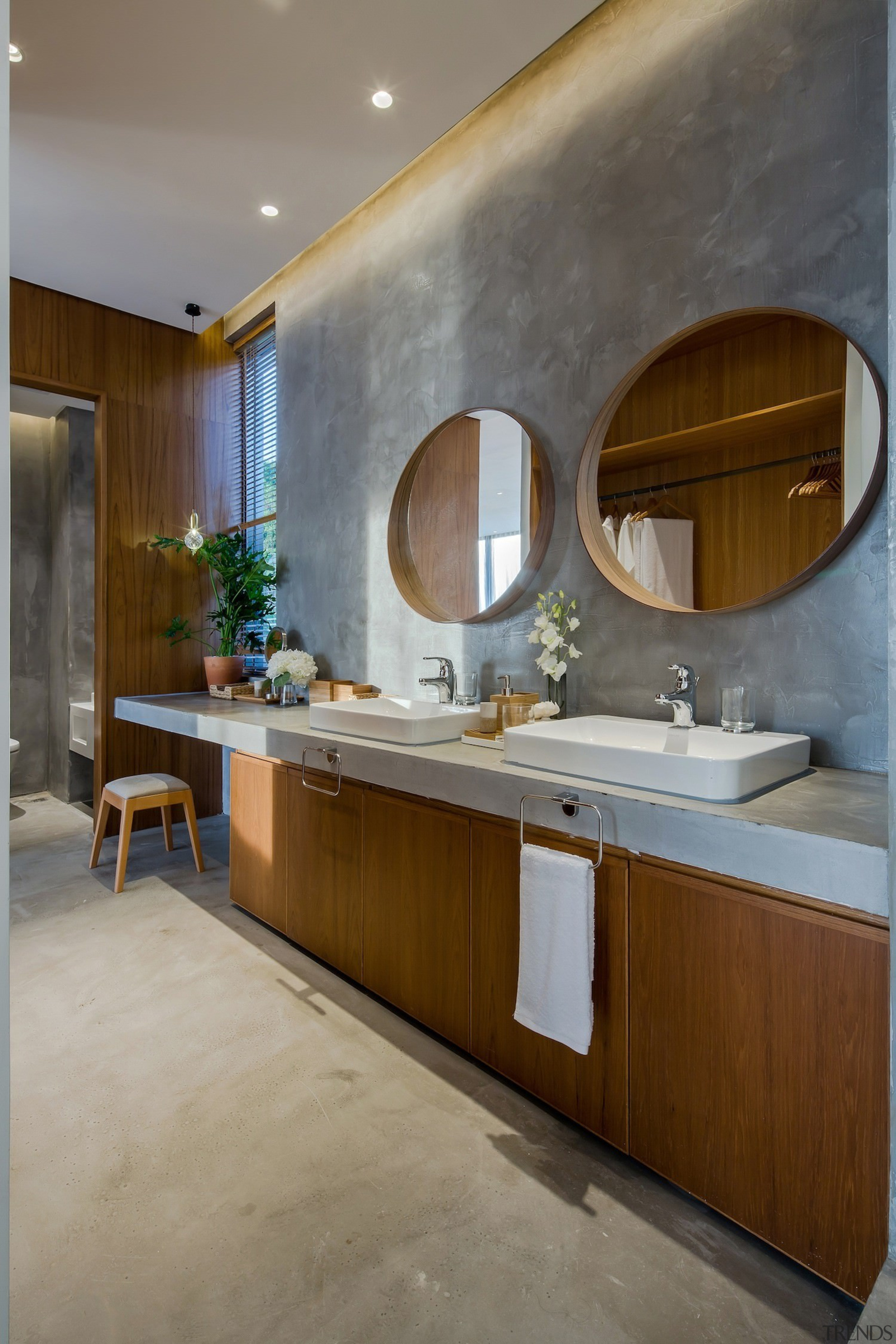 Recessed lighting sits in the ceiling above the bathroom, cabinetry, countertop, interior design, kitchen, room, sink, gray, brown