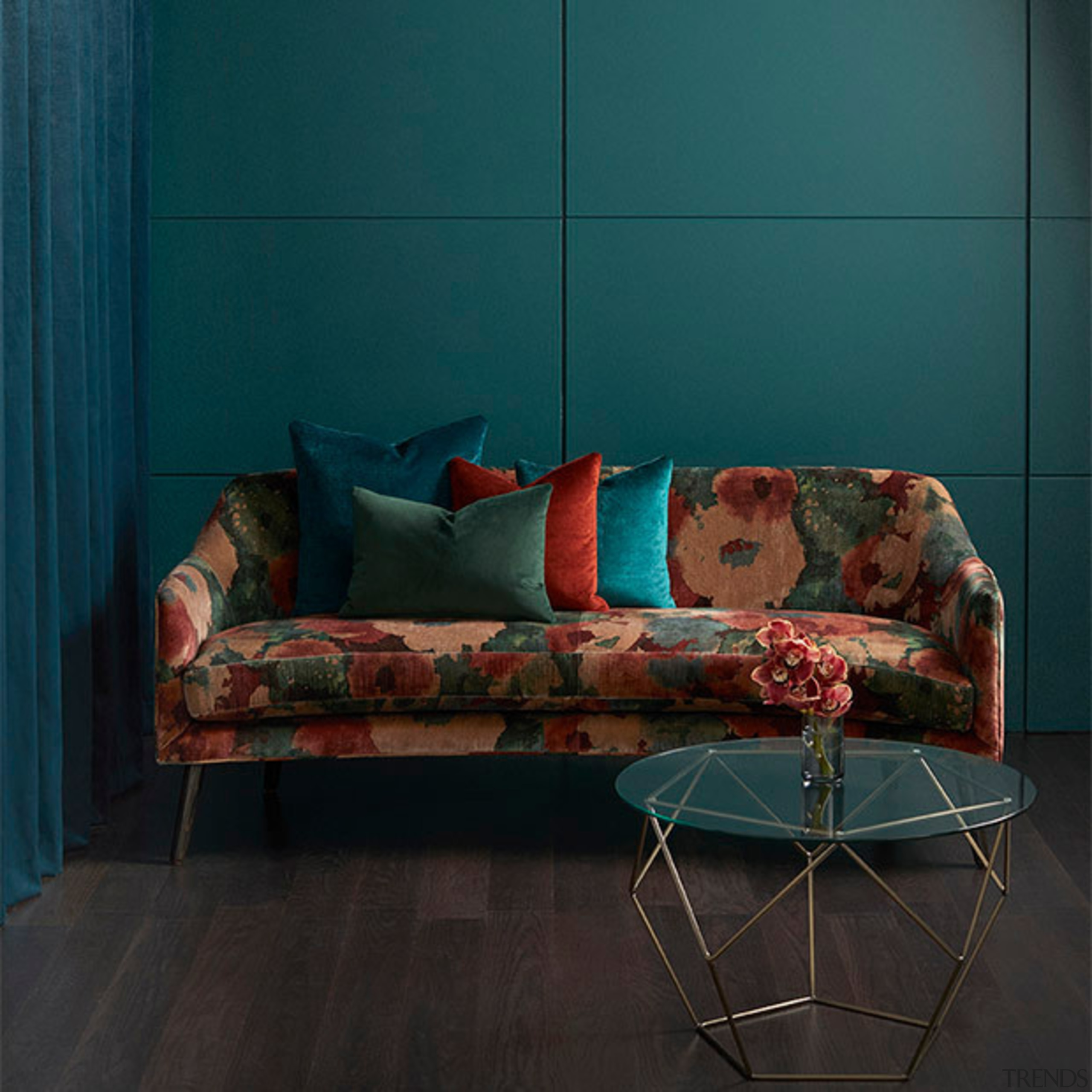 Big, bold and beautiful, ALCHEMY is the perfect chair, chaise longue, couch, floor, furniture, interior design, living room, room, sofa bed, table, wall, wood, teal, black