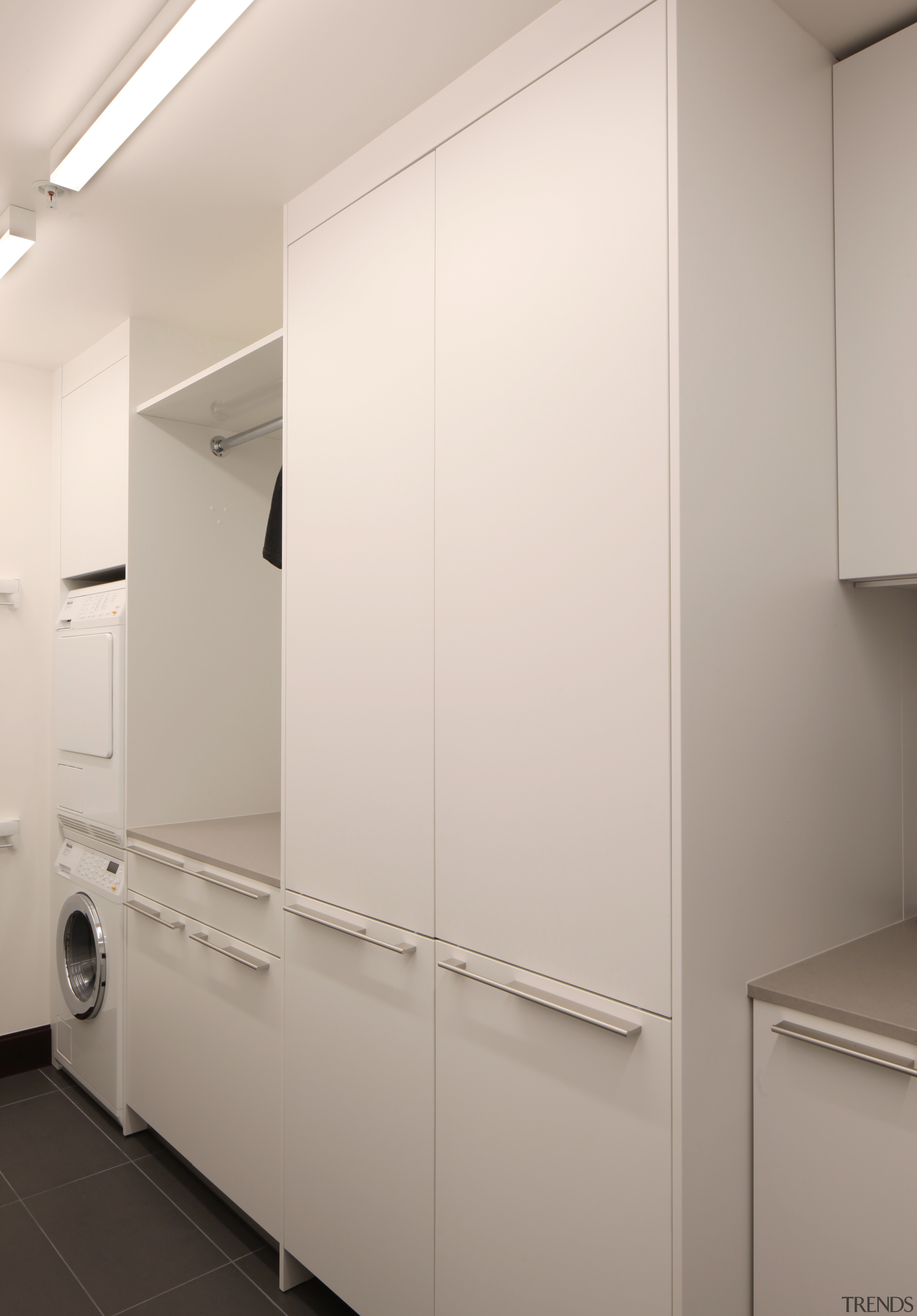 This scullery, part of an apartment kitchen by scullery, cabinetry, design, apartment kitchen,  William Landeros, Jed MacKenzie, washer/dryer, Kitchen Distributors