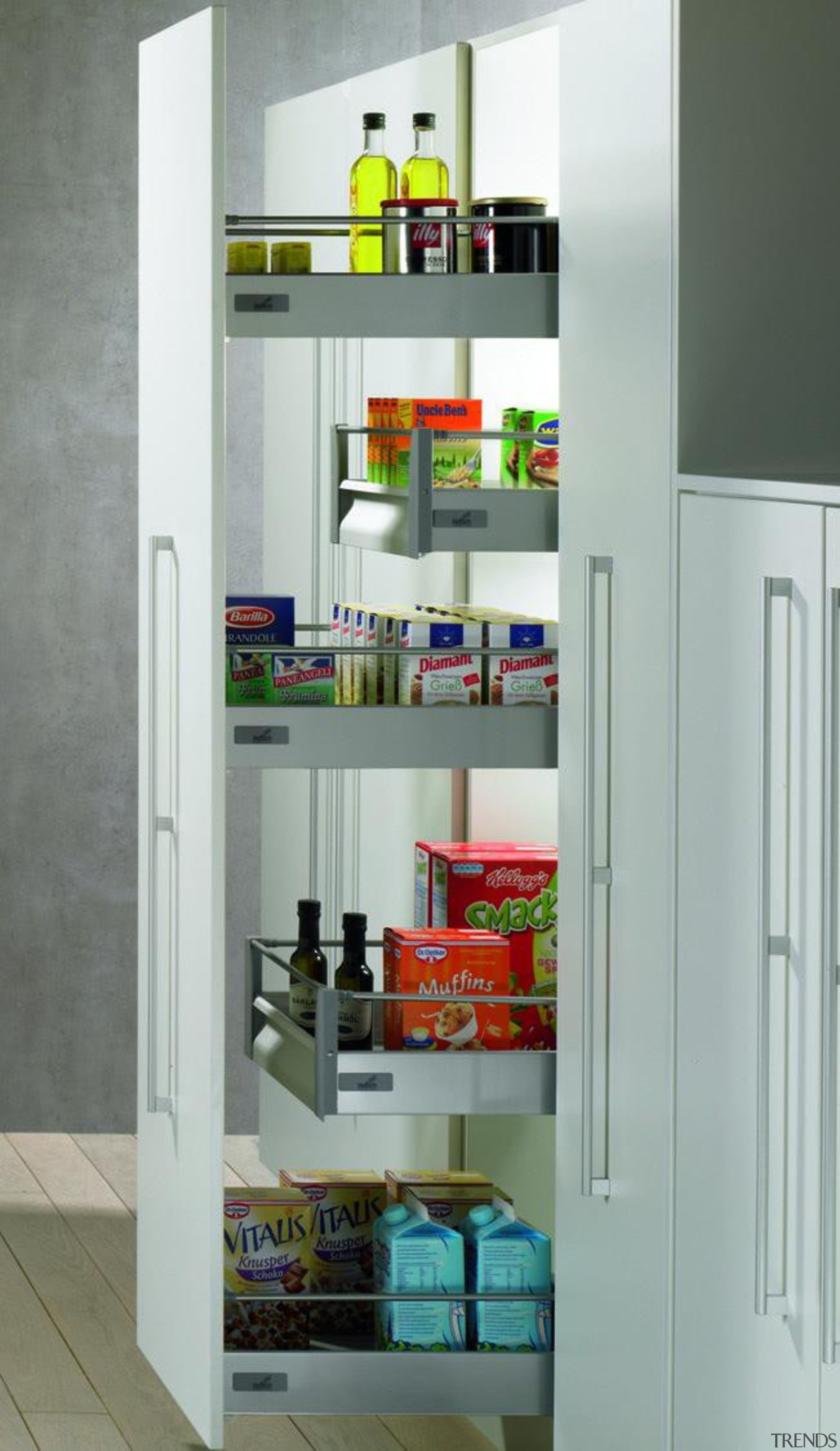 Ideal for retro-fitting cabinets and creating a pantry bookcase, display case, furniture, home appliance, pantry, product, product design, refrigerator, shelf, shelving, gray