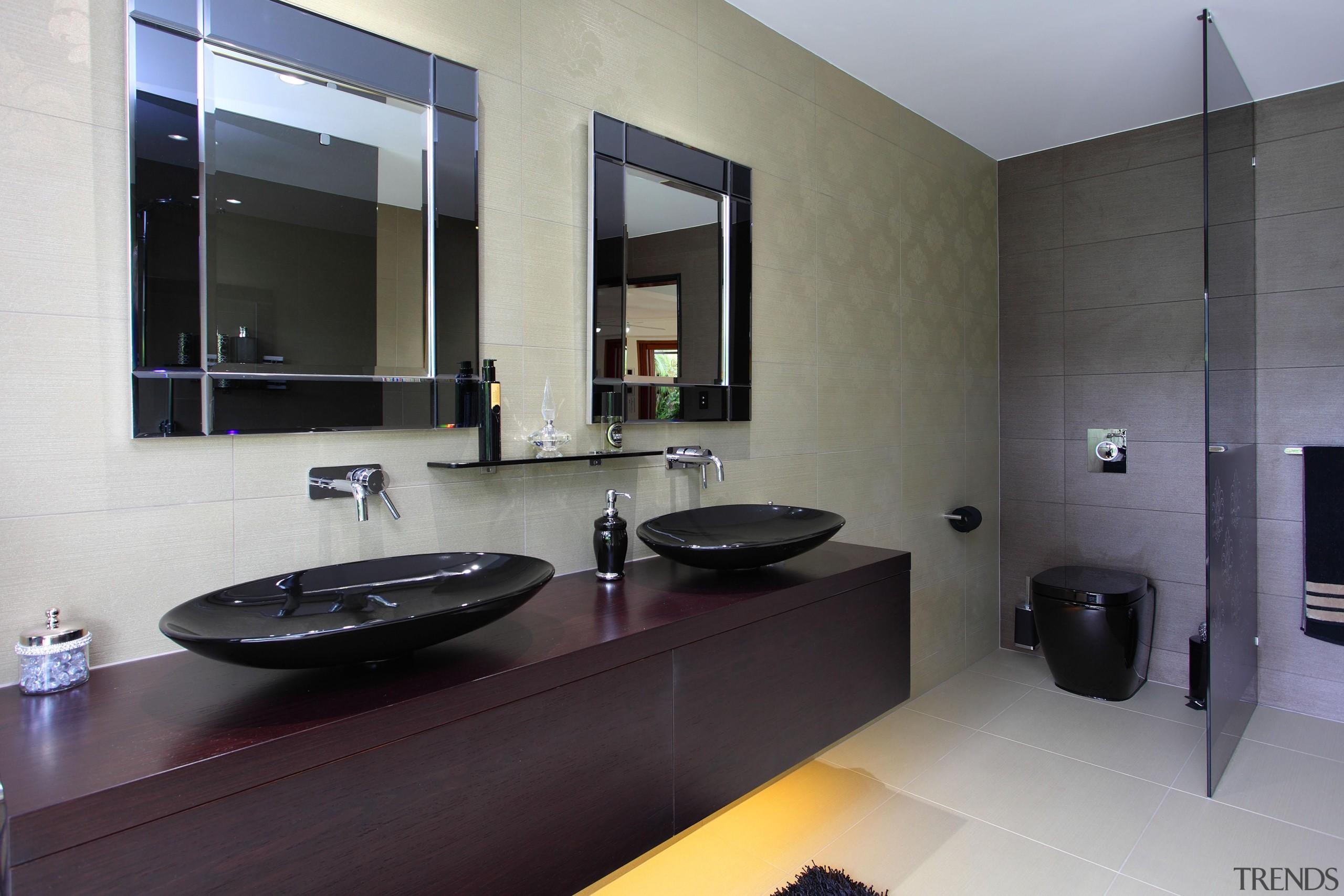 Winner Bathroom Design of the Year Queensland 2013 architecture, bathroom, floor, interior design, property, real estate, room, sink, gray, black