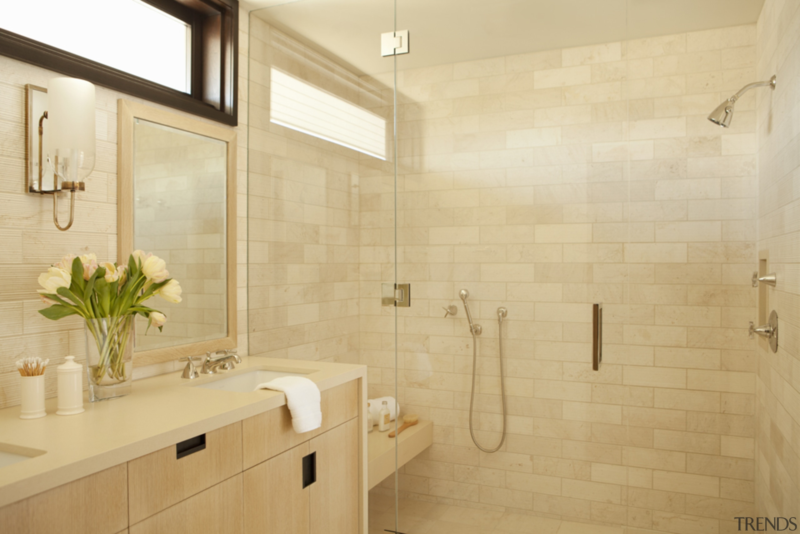 Even the guest suite bathroom evokes a sunny,