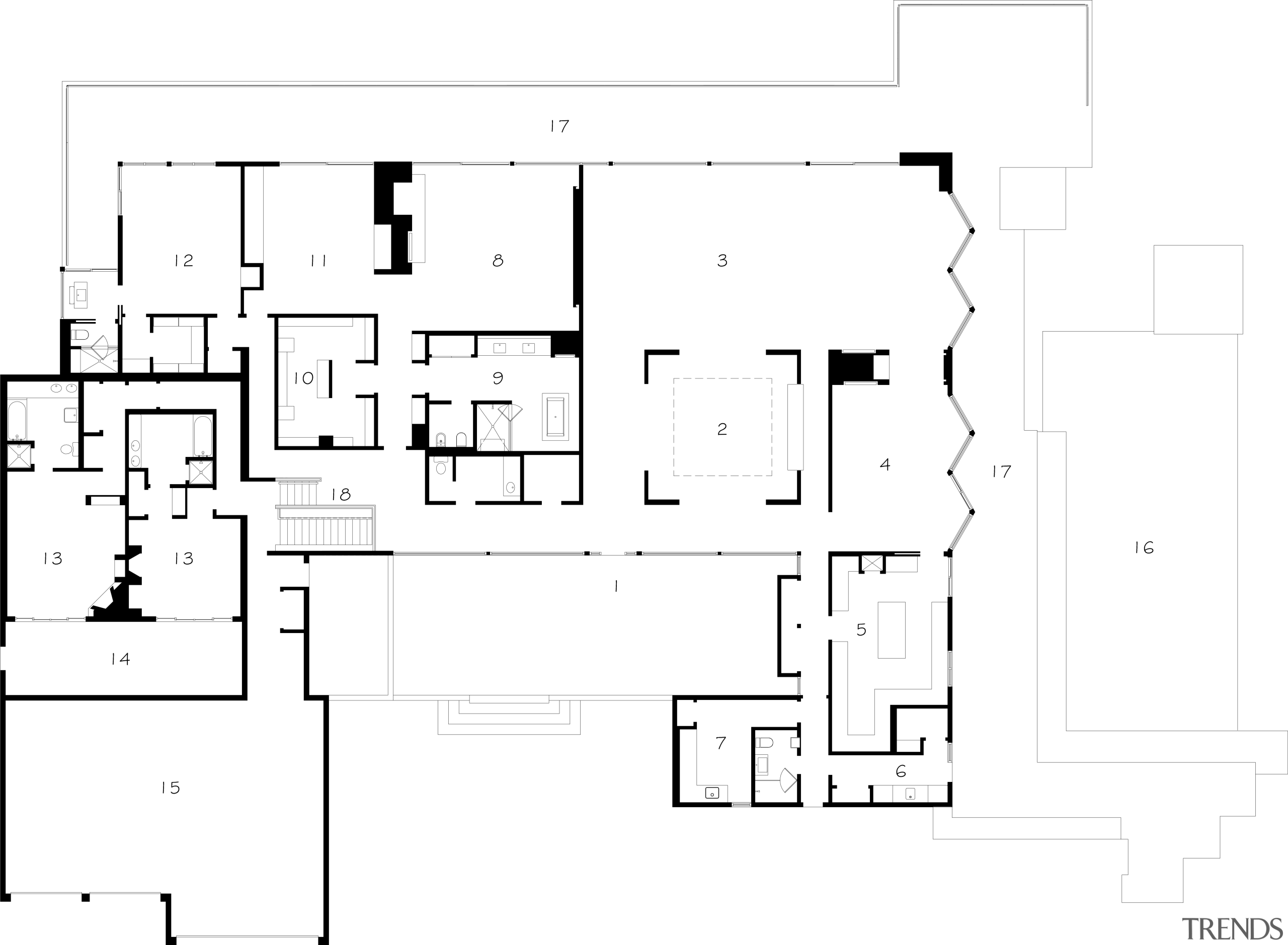 Floor plan of a 1970's house that was architecture, area, black and white, design, diagram, drawing, floor plan, font, line, plan, product design, schematic, square, text, white