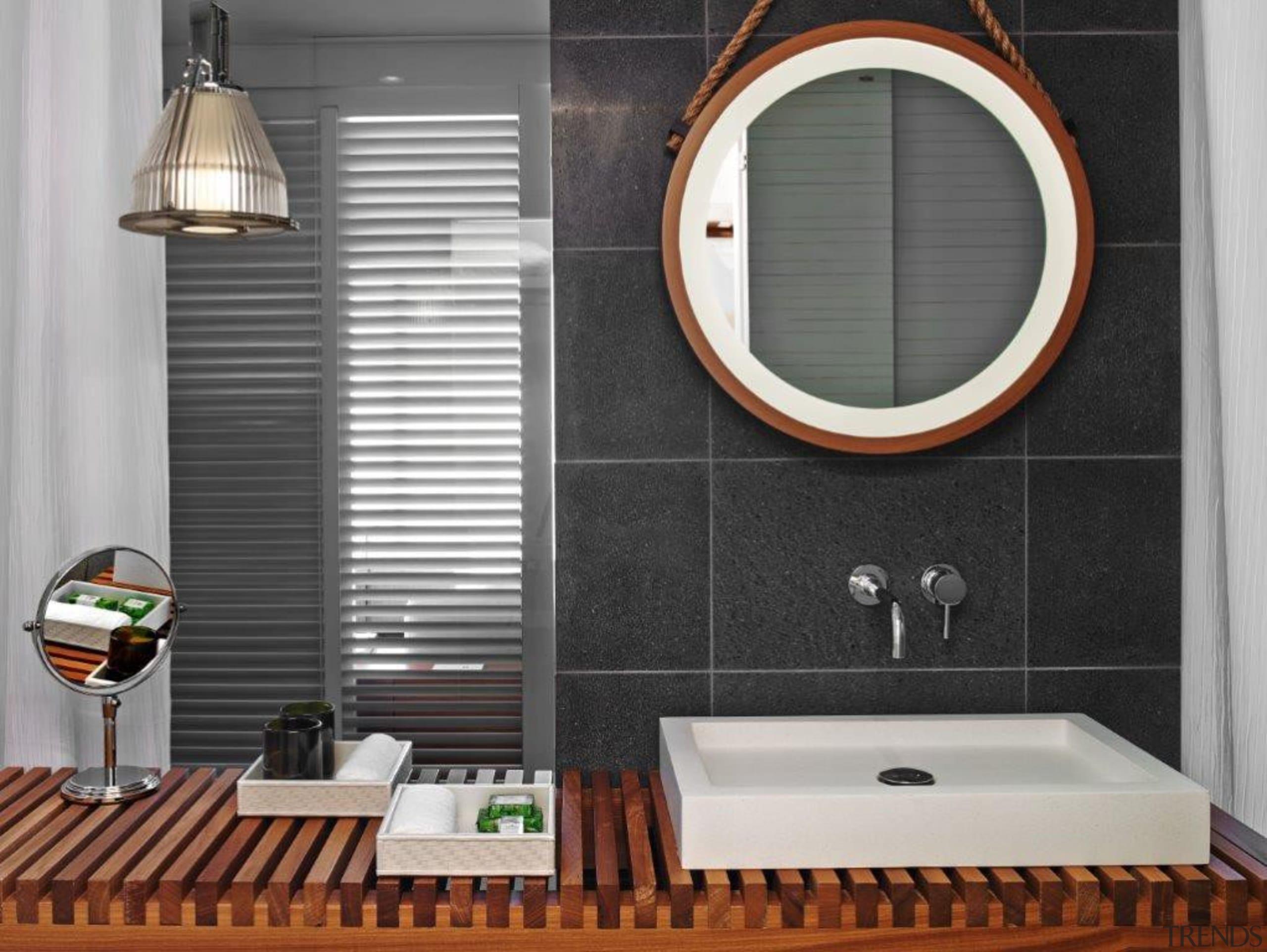 If you seek a perfect bathing experience, where bathroom, bathroom accessory, interior design, plumbing fixture, room, sink, tile, window, gray, black