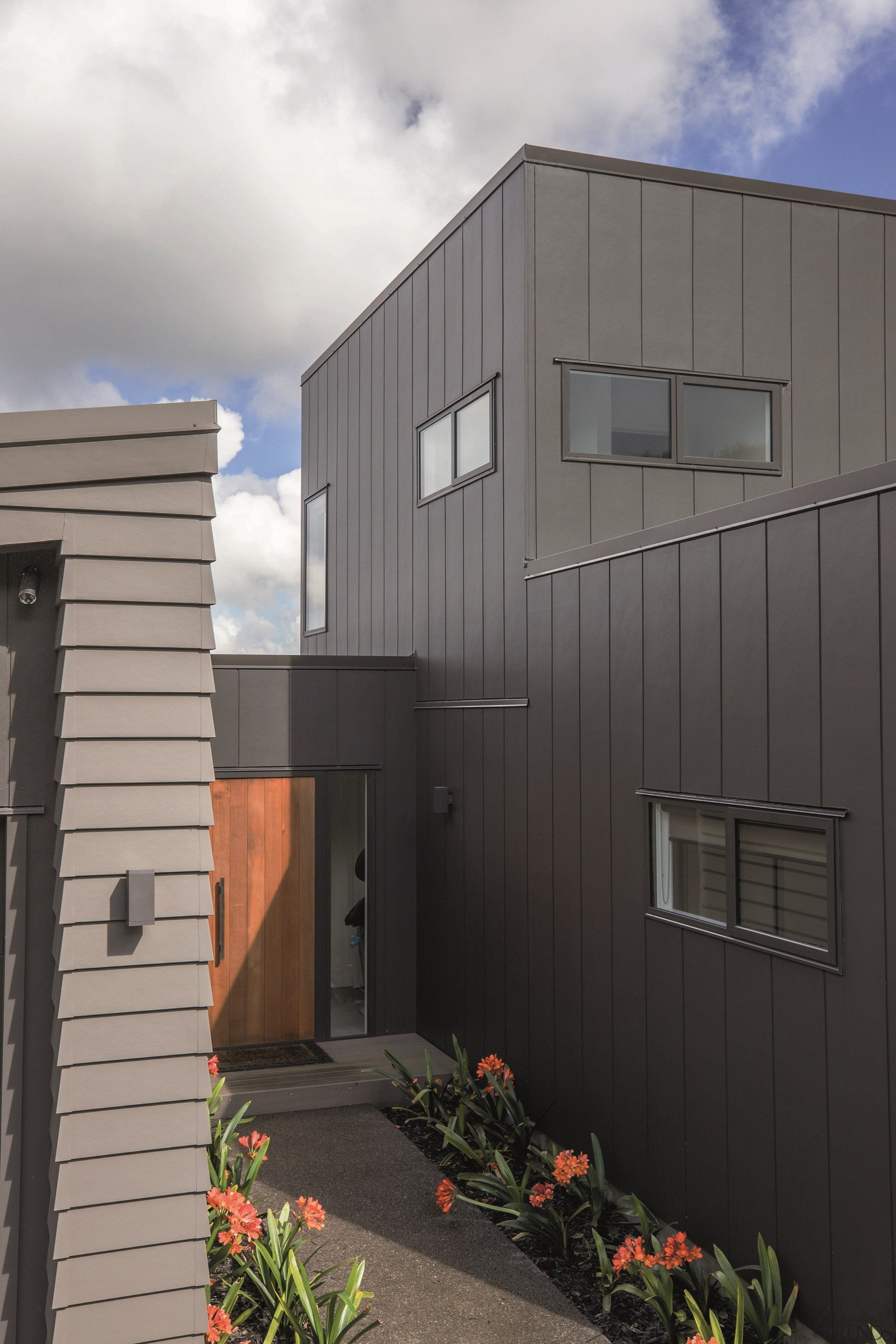 Stria Cladding and Linea Weatherboard - Stria Cladding architecture, building, elevation, facade, home, house, real estate, residential area, shed, siding, gray, black