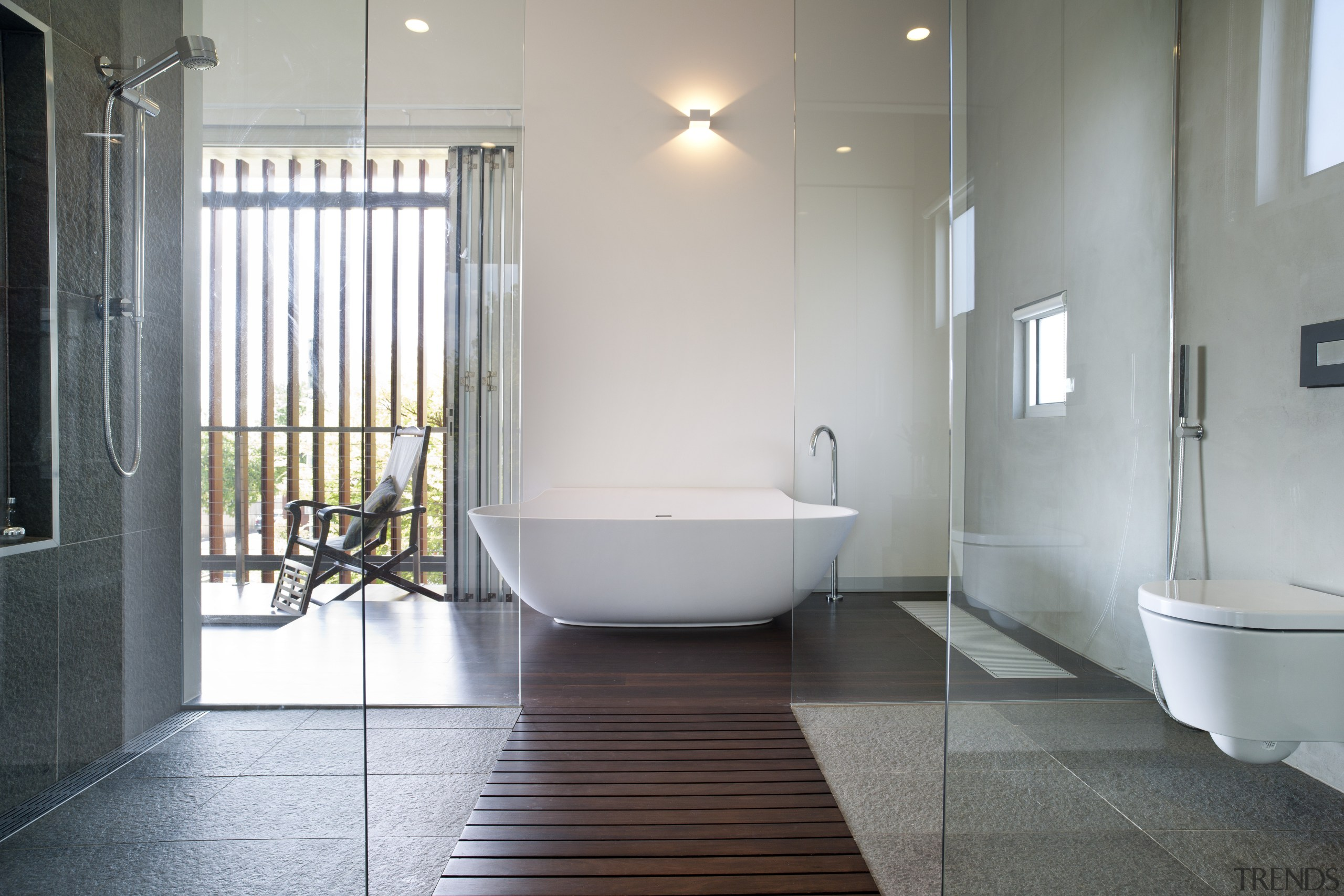 Architect Taras Wolf master bathroom - Architect Taras architecture, bathroom, daylighting, floor, flooring, home, interior design, plumbing fixture, property, real estate, room, tile, gray
