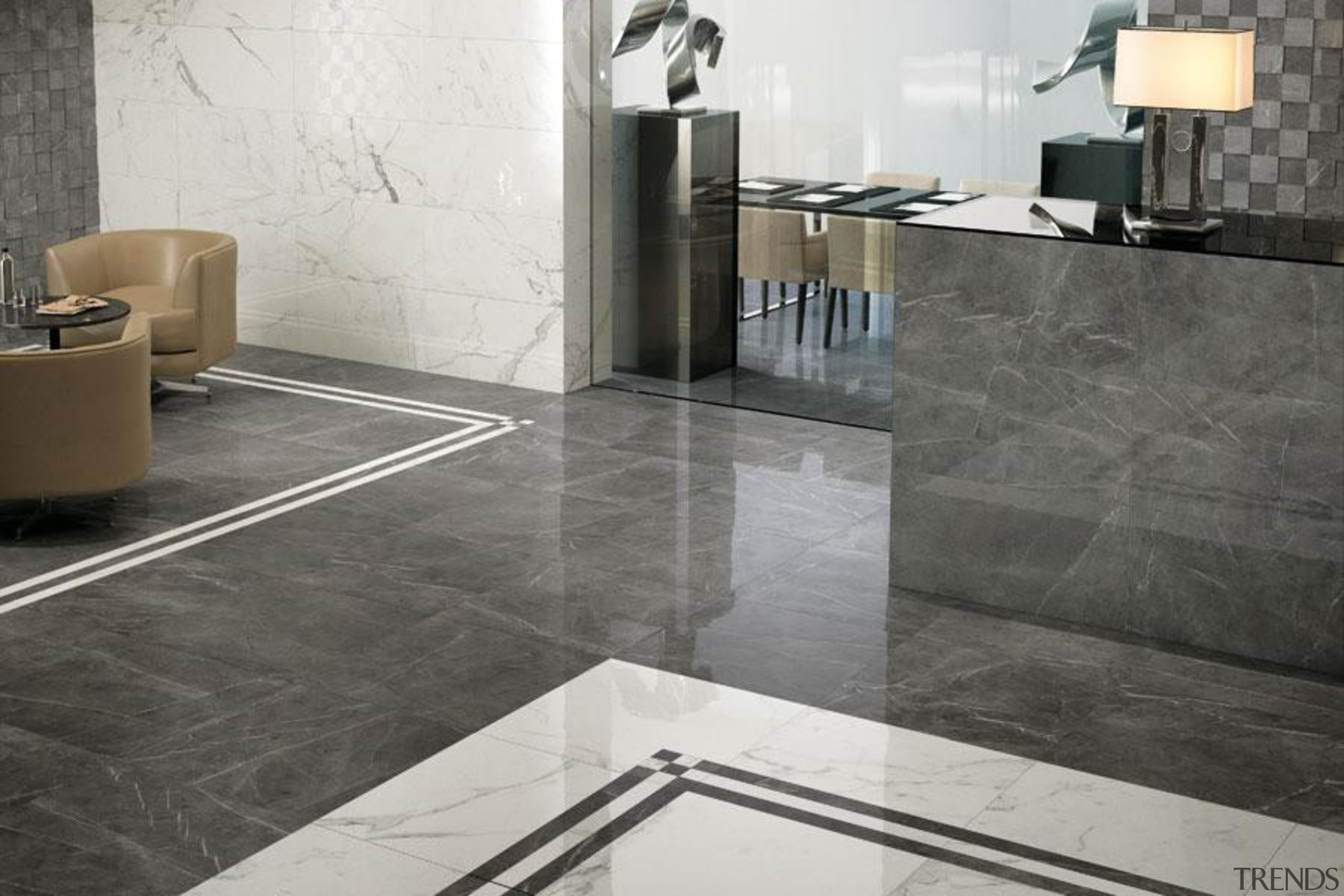 Calacatta and grey stone wall and floor tiles floor, flooring, interior design, product design, tap, tile, wall, gray, white