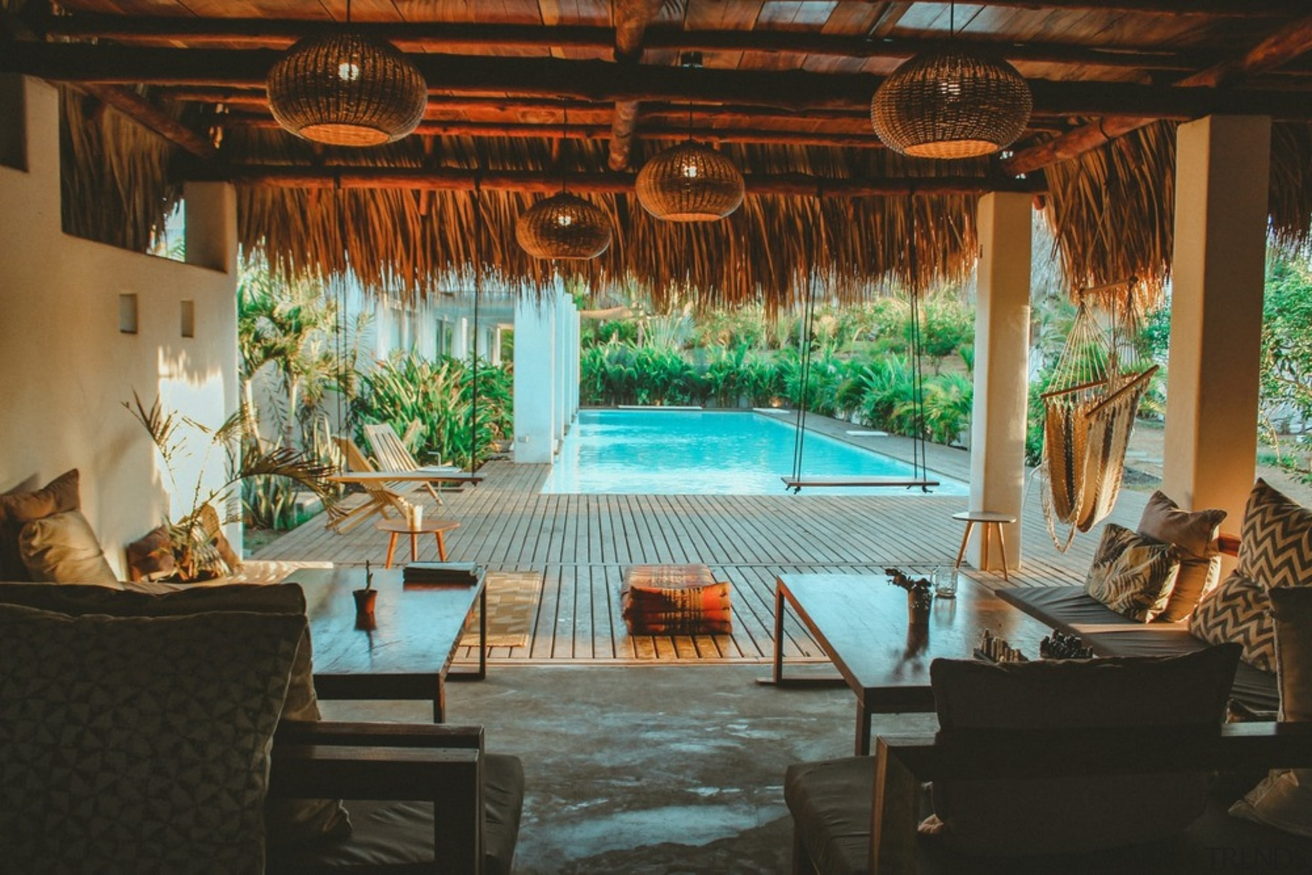 Swell - a surf and lifestyle hotel - architecture, building, ceiling, estate, furniture, home, hotel, house, interior design, leisure, property, real estate, resort, room, swimming pool, vacation, brown, black