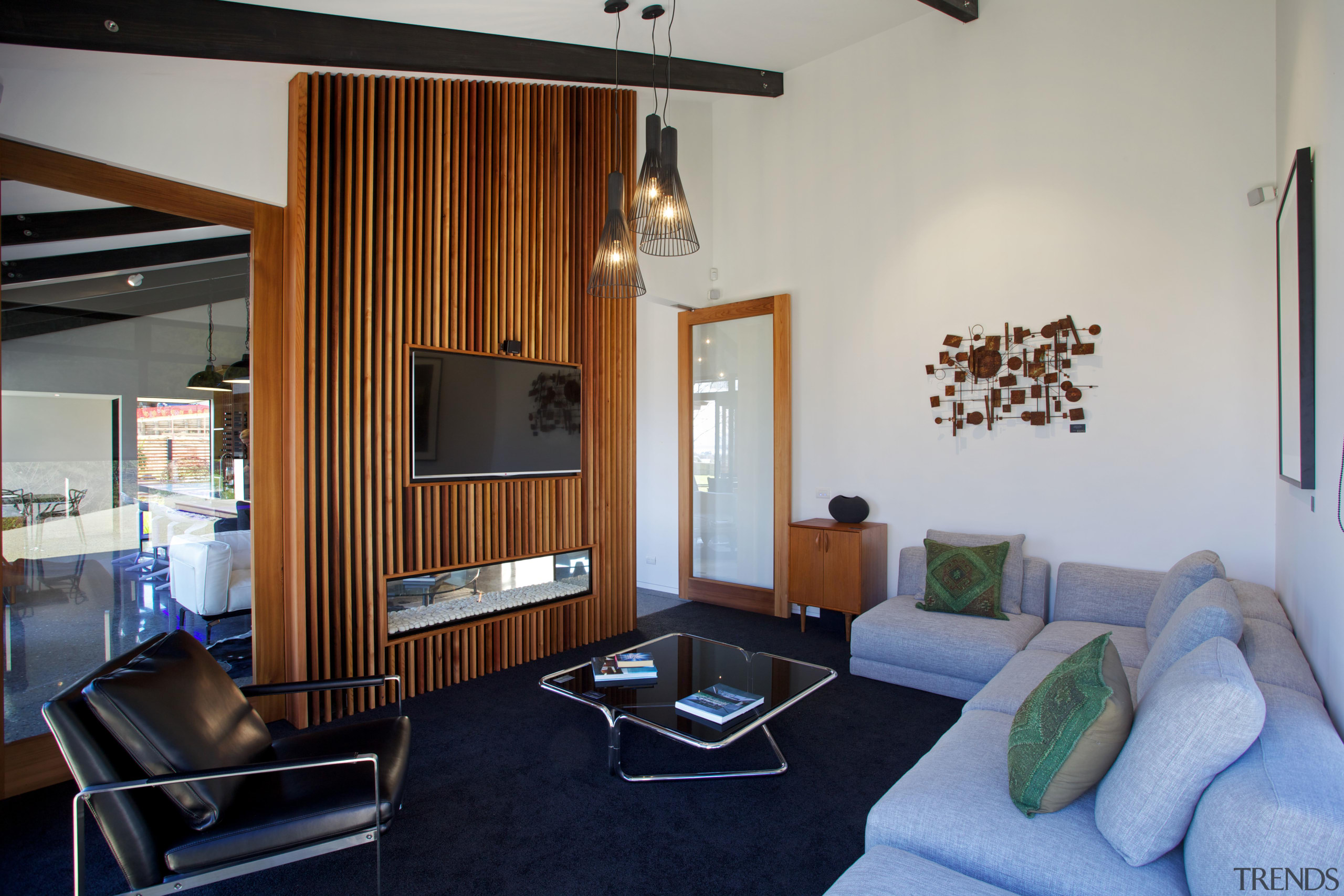 Family living in this David Reid show home interior design, living room, real estate, room, gray
