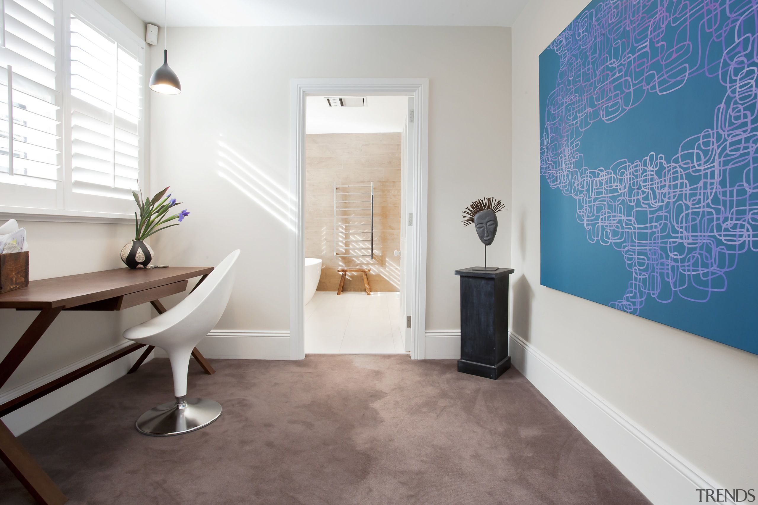 A new study is connected to a repositioned ceiling, floor, flooring, home, interior design, real estate, room, wall, white
