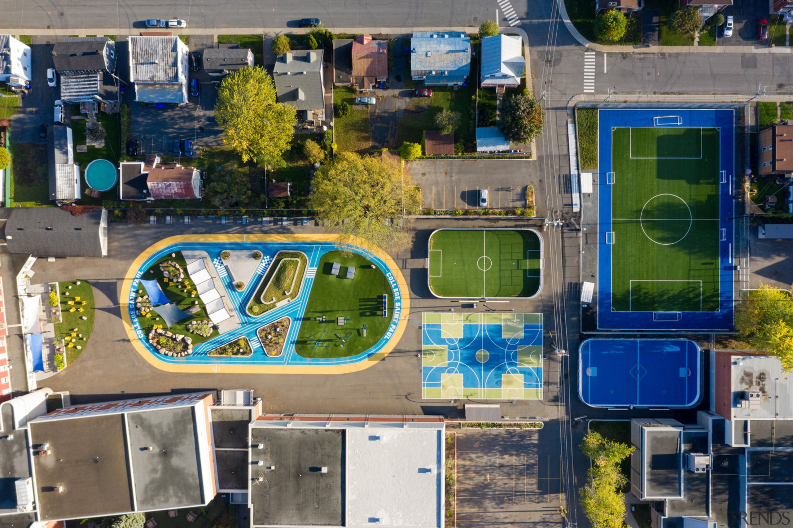 A bird's eye view of the project. -