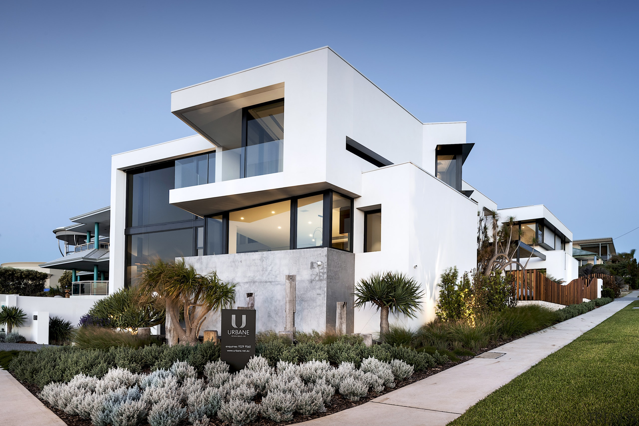 This three-level corner coastal home, by Urbane Projects,