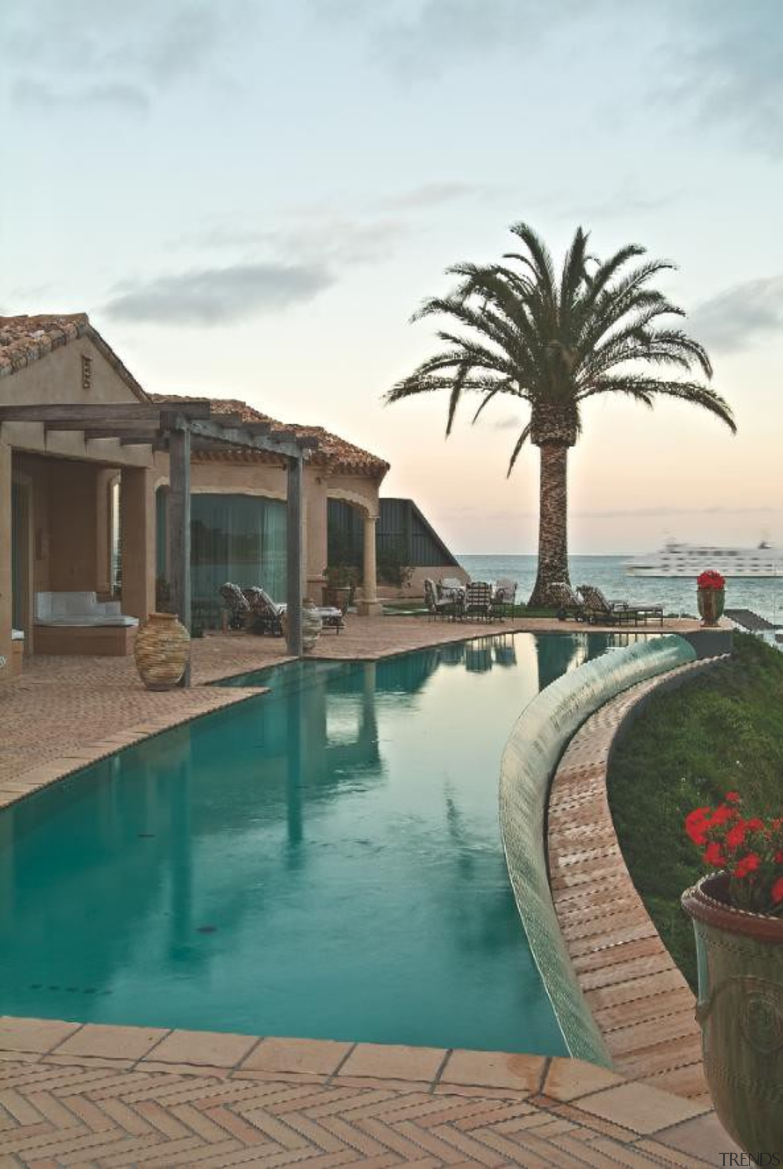 Bisazza green swimming pool tiles - Bisazza Range arecales, estate, hacienda, home, mansion, palm tree, property, real estate, resort, sky, swimming pool, vacation, villa, white