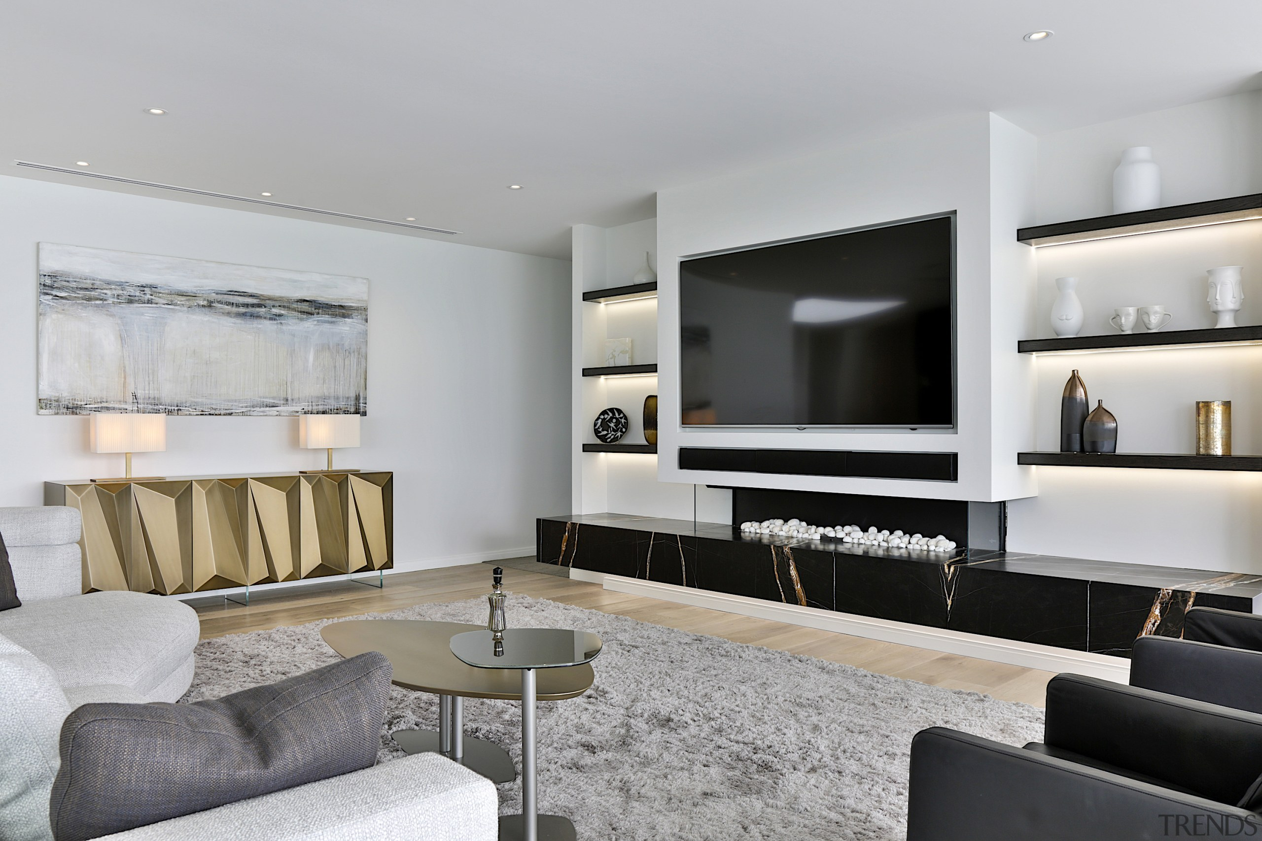 The walls throughout are painted in a neutral gray
