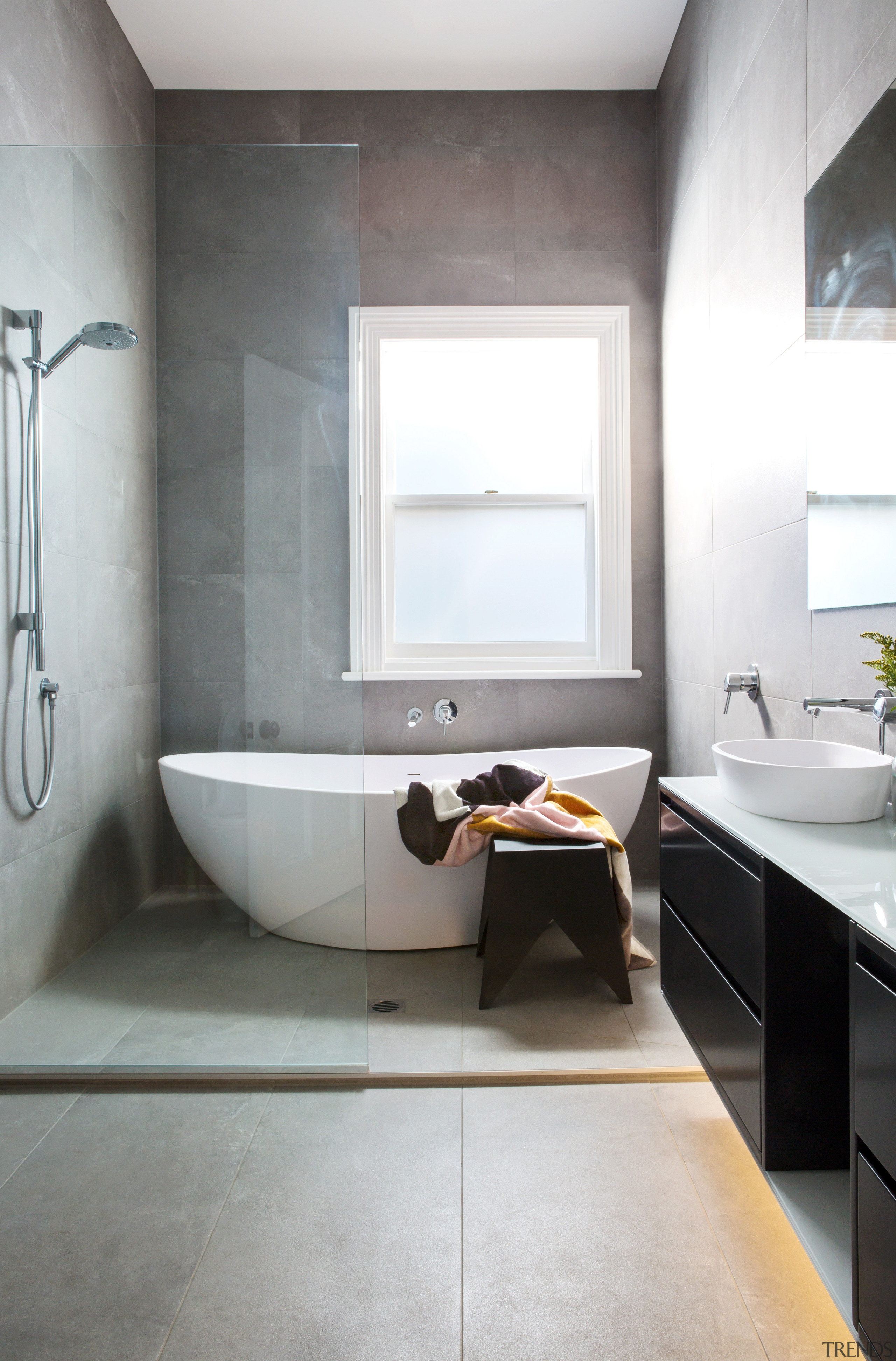 A comprehensively reinvented bathroom in the original cottage, architecture, bathroom, bathroom accessory, bathroom cabinet, floor, home, interior design, product design, room, sink, tap, tile, wall, white, gray