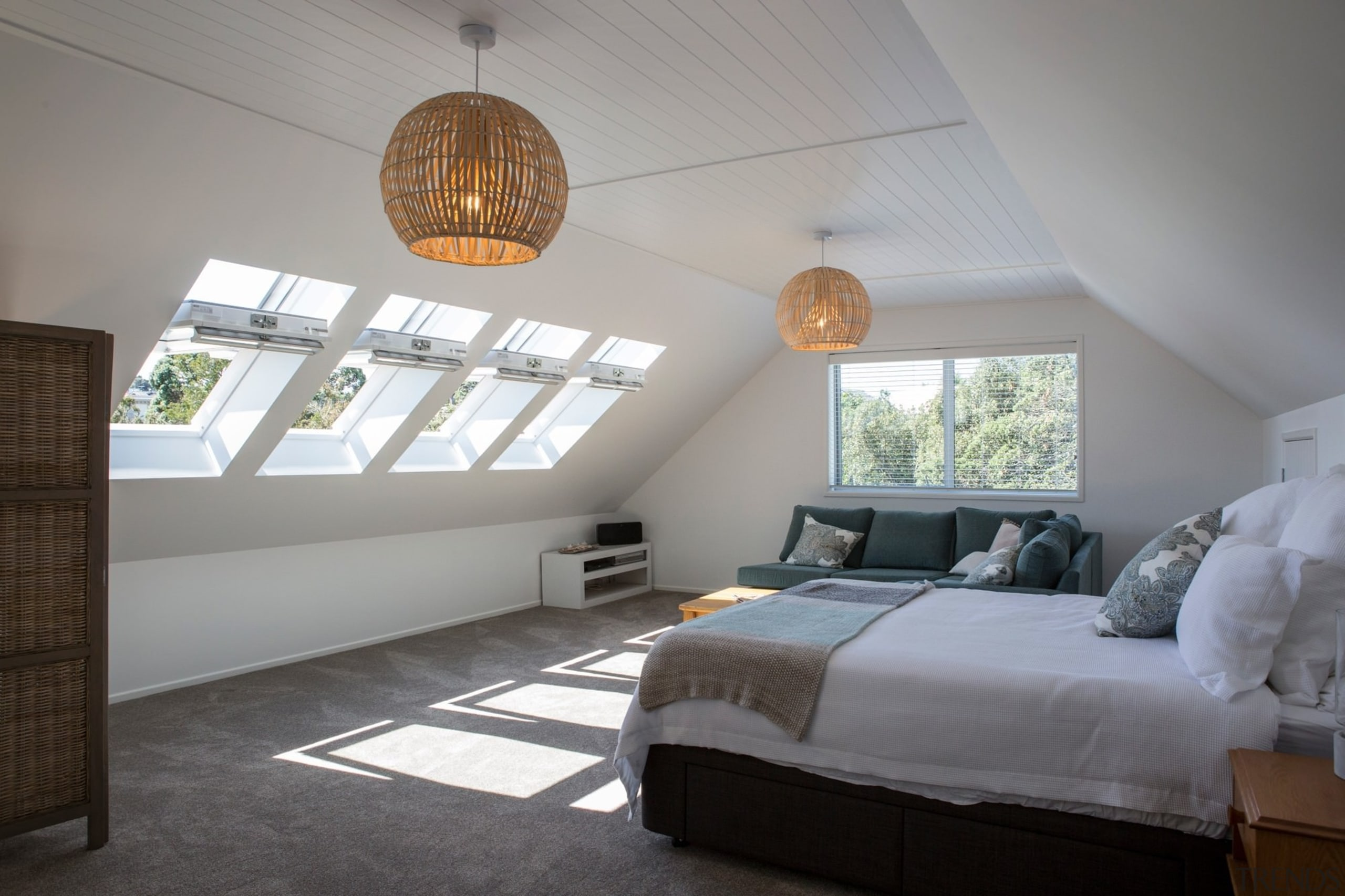 Master bedroom with leafy views and ample sunlight architecture, bed frame, bedroom, ceiling, daylighting, estate, home, house, interior design, real estate, room, gray