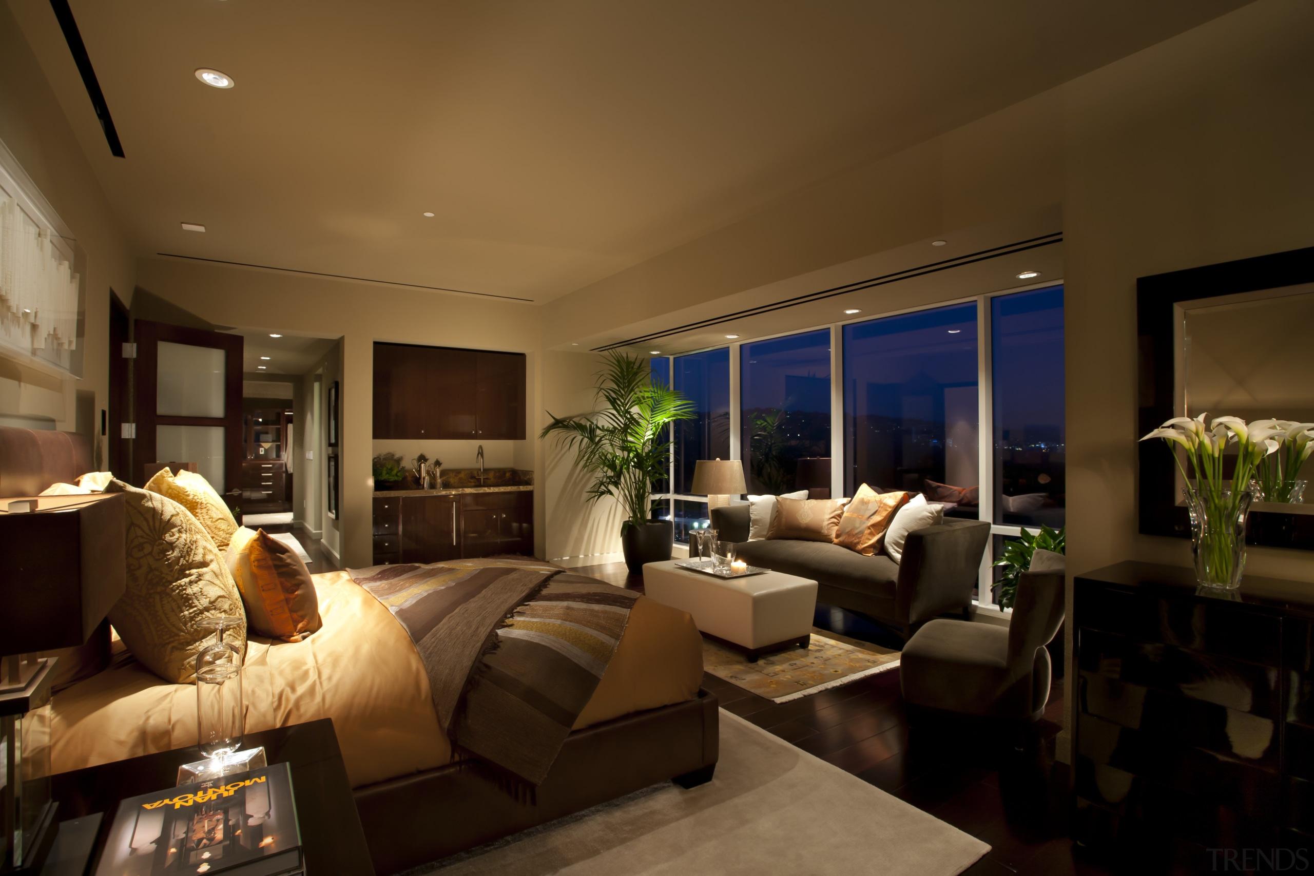 This master suite was designed by Jon Kreuger ceiling, estate, home, interior design, lighting, living room, property, real estate, room, brown, black