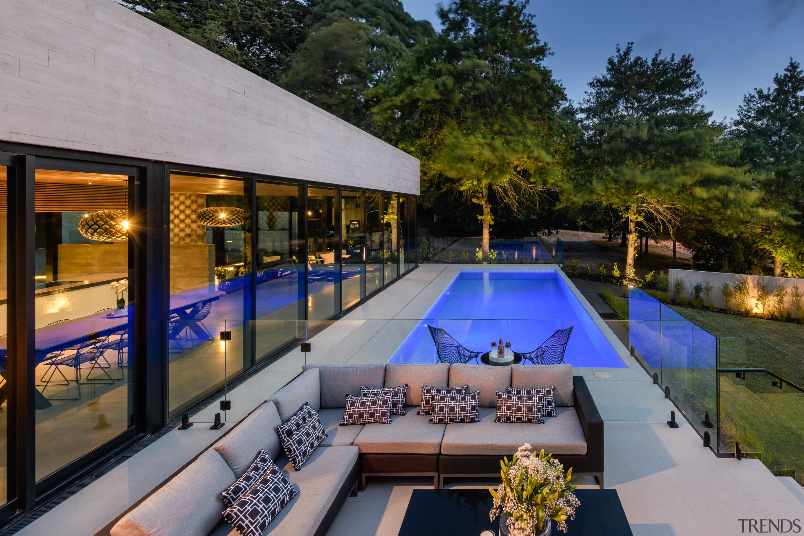For this project by Freeman Ball Developments, tilt-panel architecture, backyard, building, courtyard, design, estate, home, house, interior design, landscaping, leisure, lighting, patio, property, real estate, reflecting pool, residential area, roof, room, swimming pool, tree, villa, gray, black