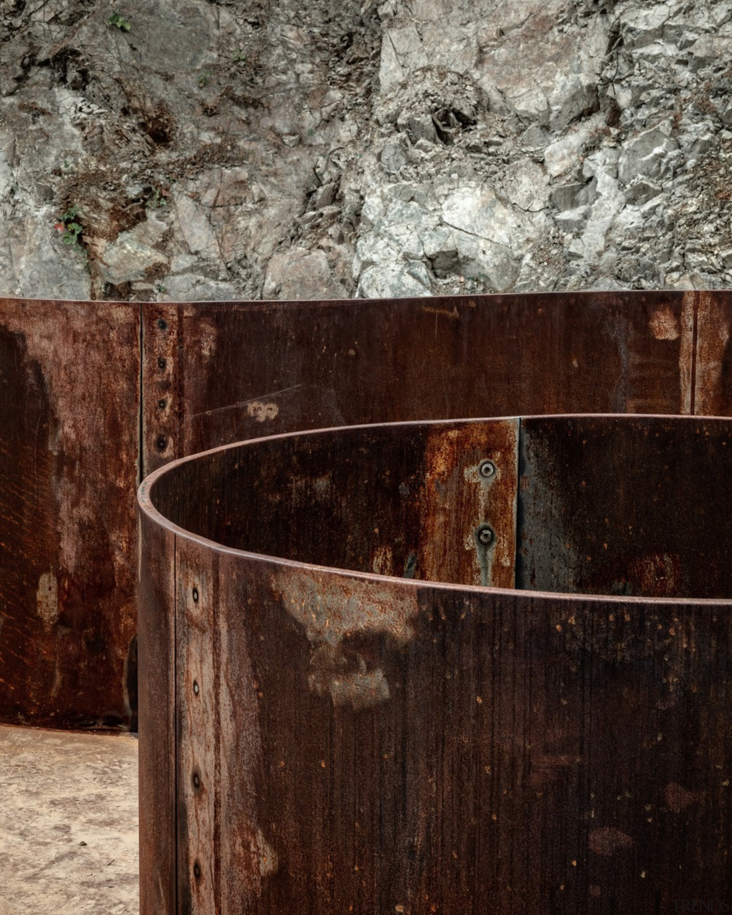 Industrial evocation doesn't get any grungier than with brown, gray