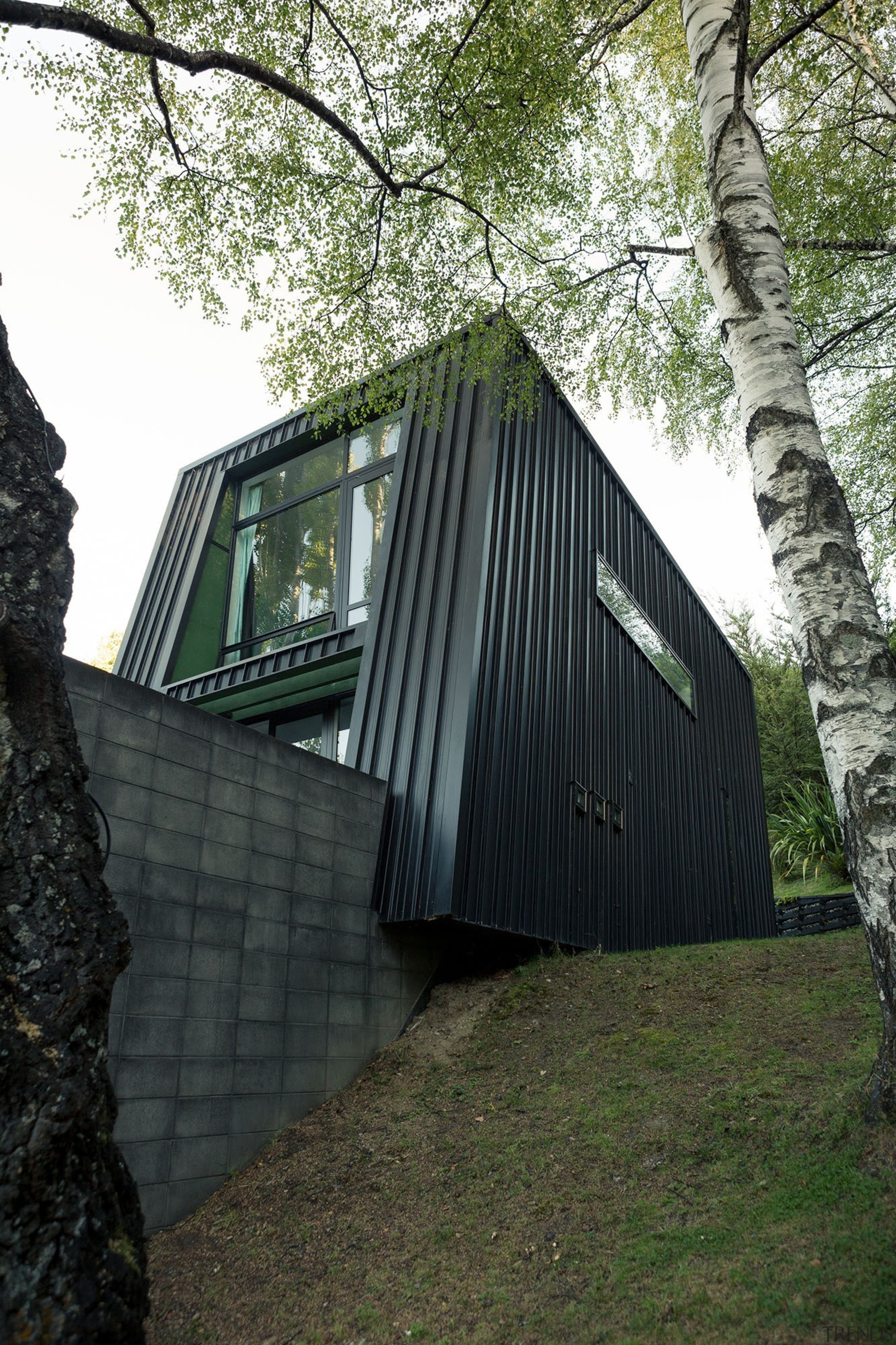 Black House part one - Queenstown Arch - architecture, building, cottage, facade, home, house, hut, tree, wood, black